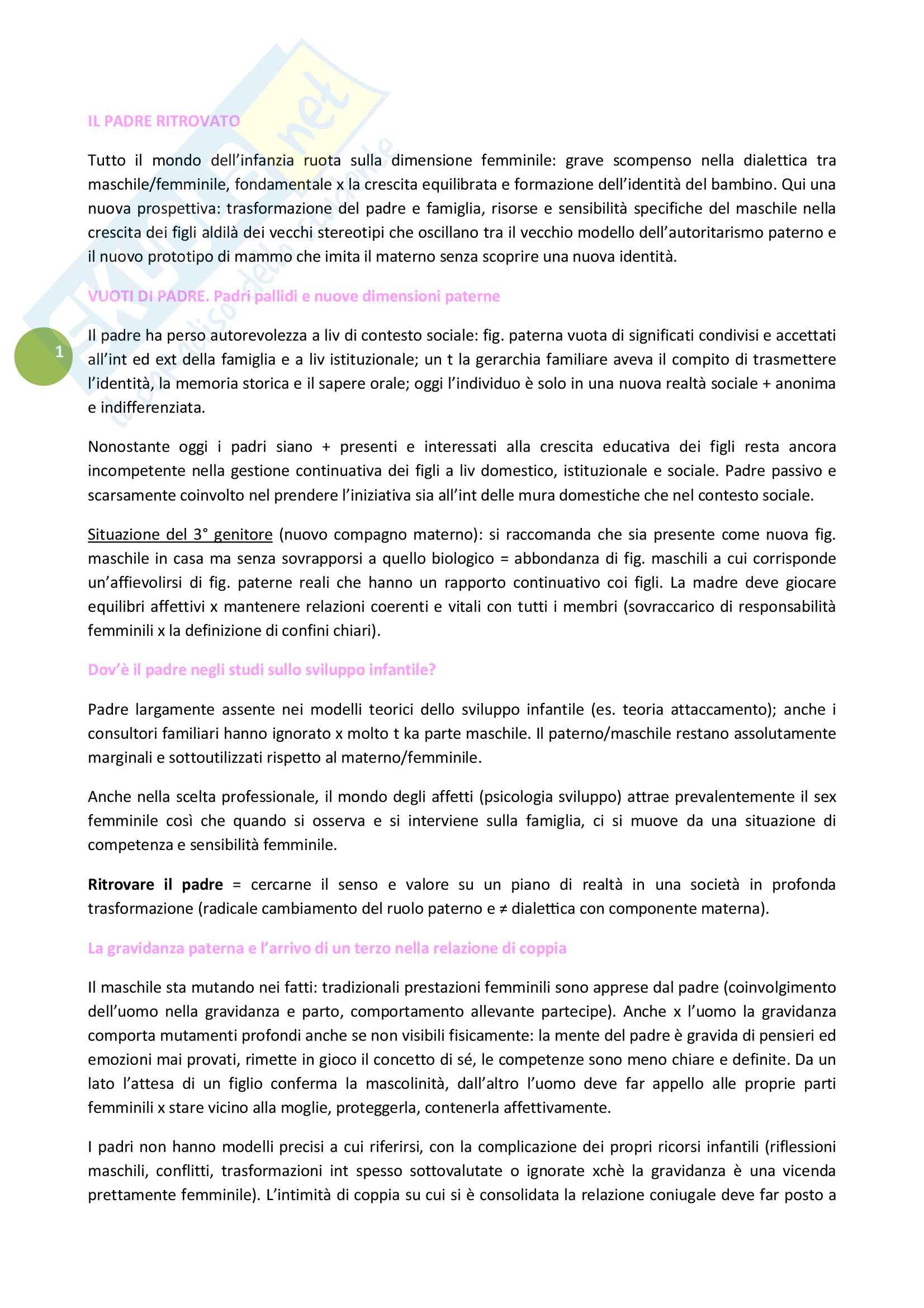 Riassunto esame Psicodinamica dello sviluppo e delle relazioni familiari, prof. Giani Gallino, libro consigliato Il padre ritrovato, di Andolfi