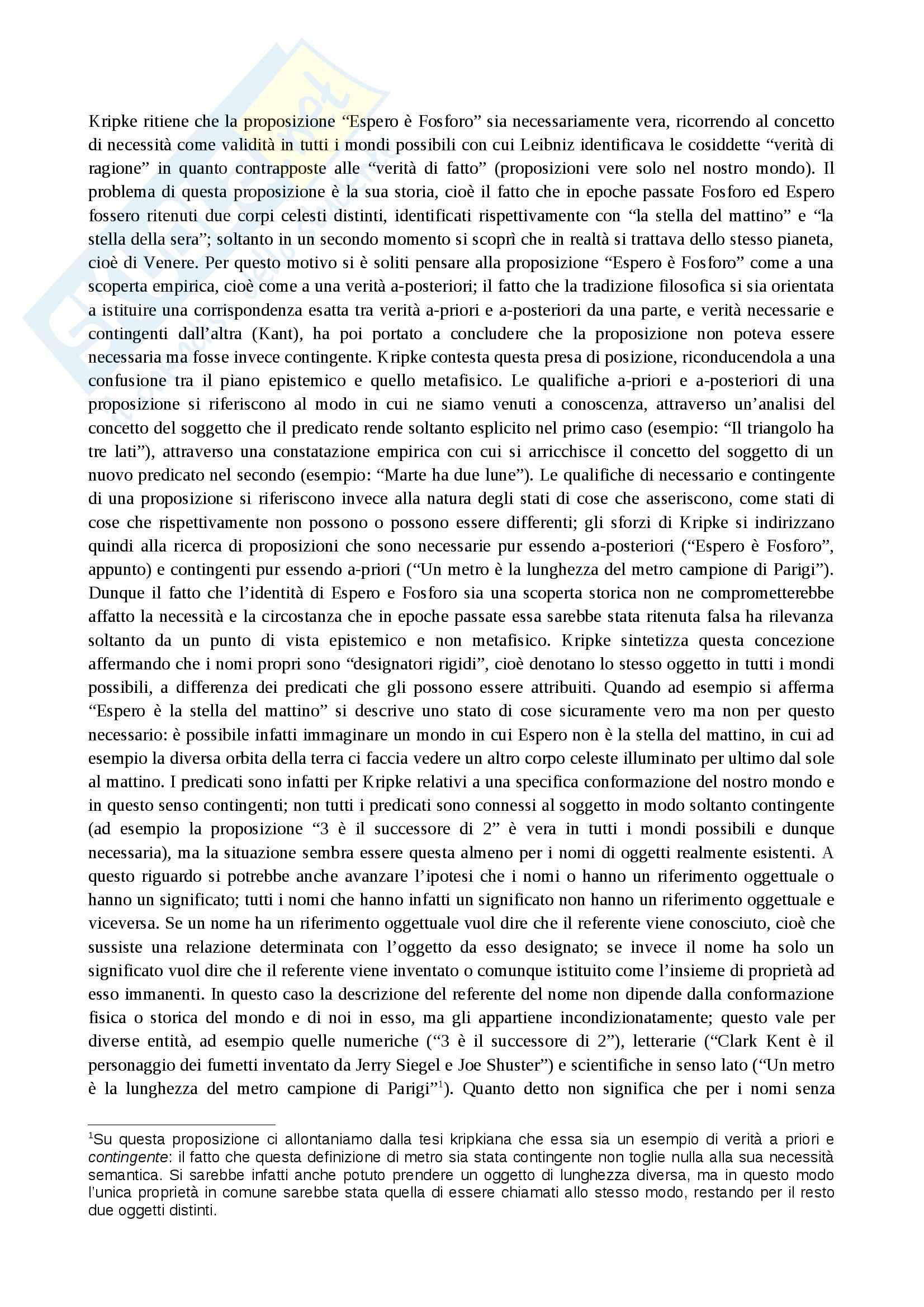 Filosofia del linguaggio - proposizioni d'identità in Kripke