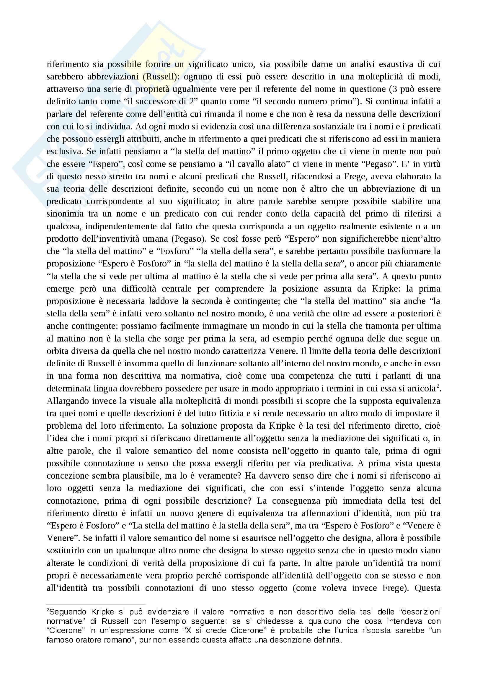 Filosofia del linguaggio - proposizioni d'identità in Kripke Pag. 2
