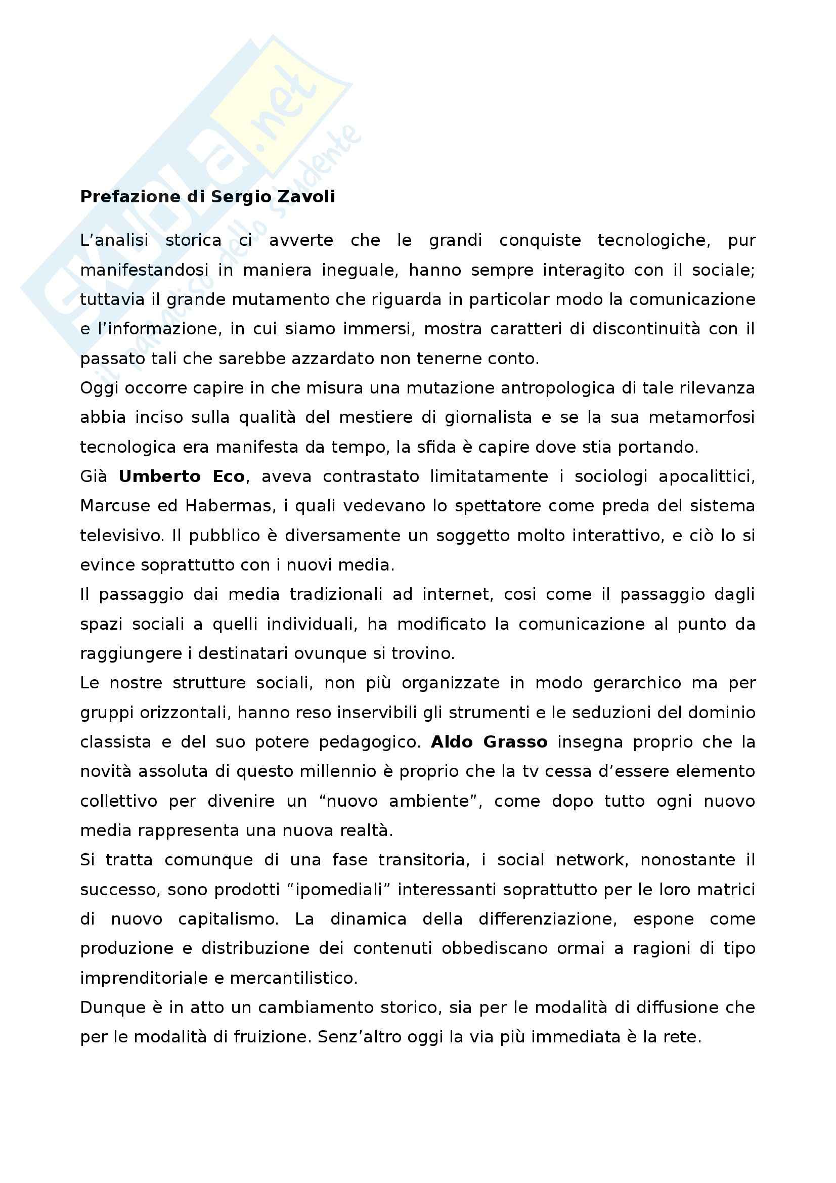 Riassunto esame Giornalismo digitale, prof. Antenore, libro consigliato Neogiornalismo, tra crisi e Rete, Morcellini