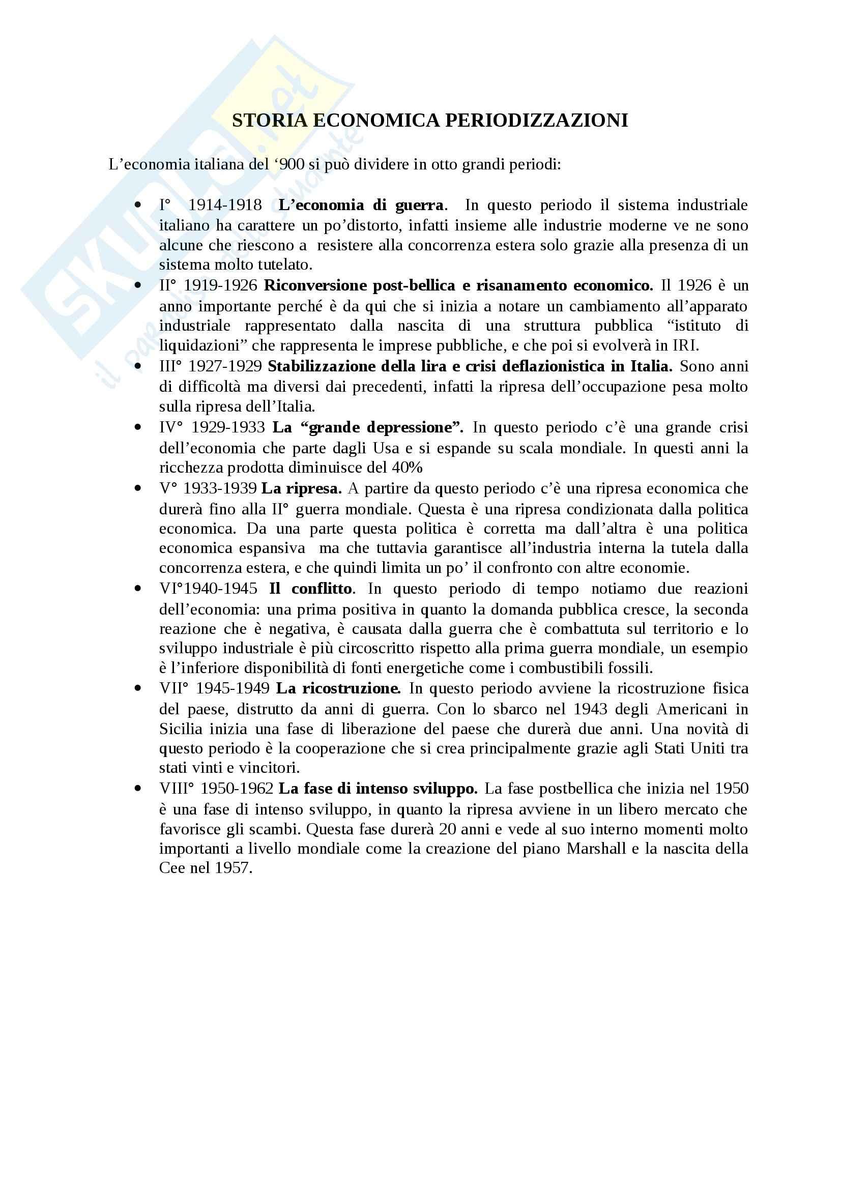 Riassunto esame Storia economica, prof. Fumi, libro consigliato Il Novecento Economico Italiano, Leonardi, Cova, Galea