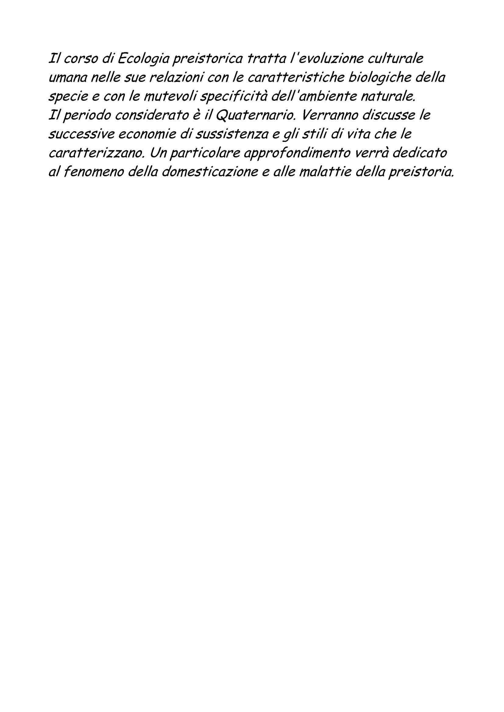 dispensa E. Marini Paleontologia umana ed Ecologia preistorica