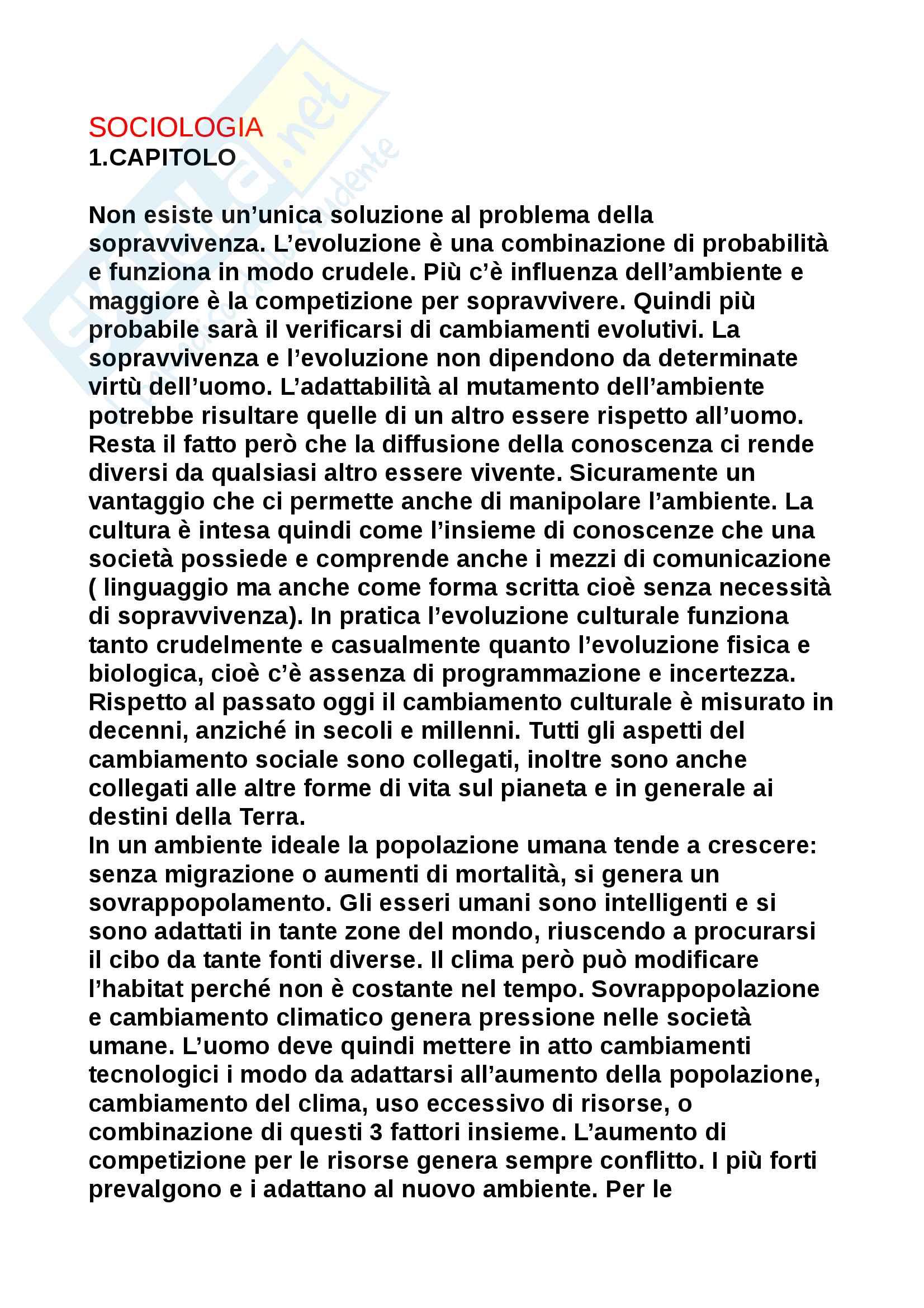 Riassunto esame Sociologia del mutamento, prof. Bonizzoni, libro consigliato La Sociologia del mutamento di Chirot