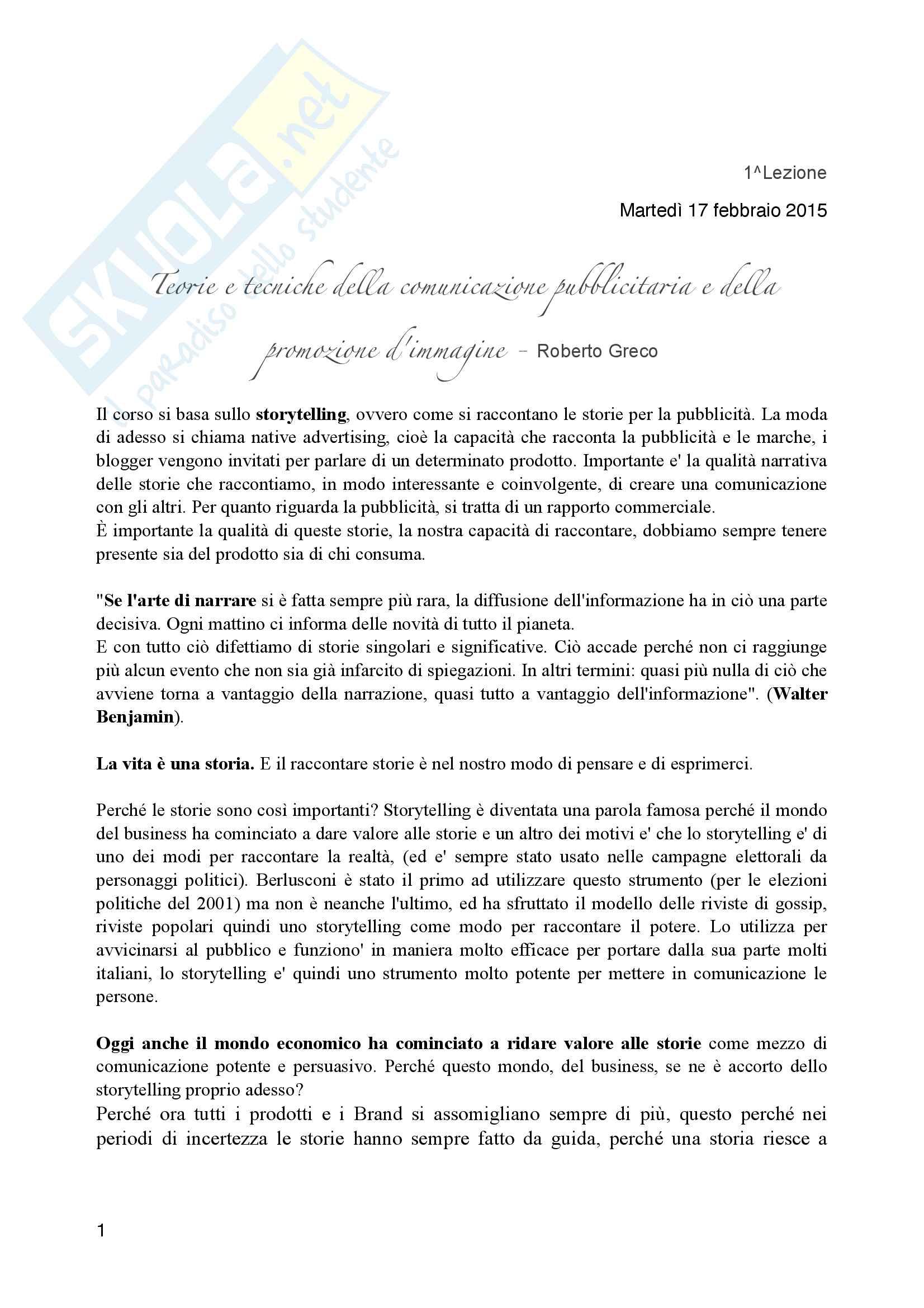 Appunti esame teorie e tecniche della comunicazione pubblicitaria e della promozione d'immagine prof. Greco