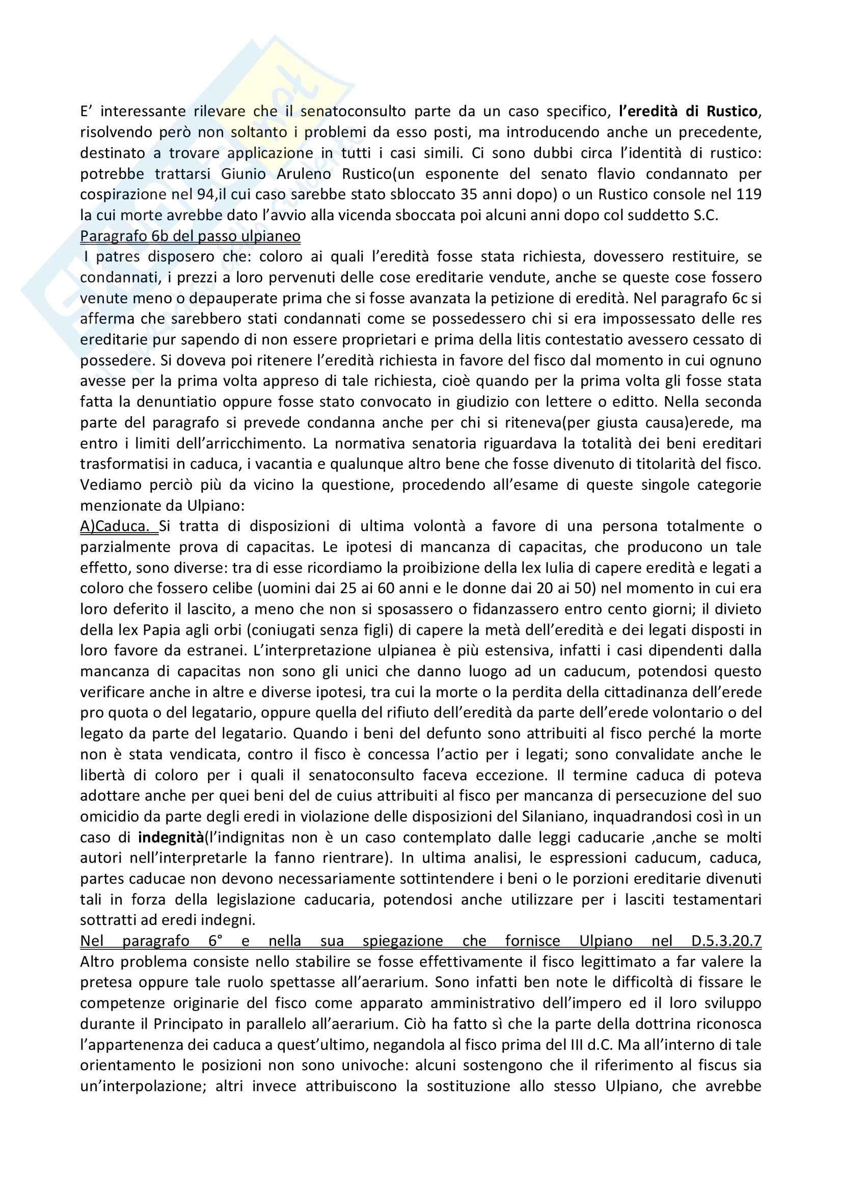 Diritto romano - il Senatoconsulto giuvenziano - Appunti Pag. 2