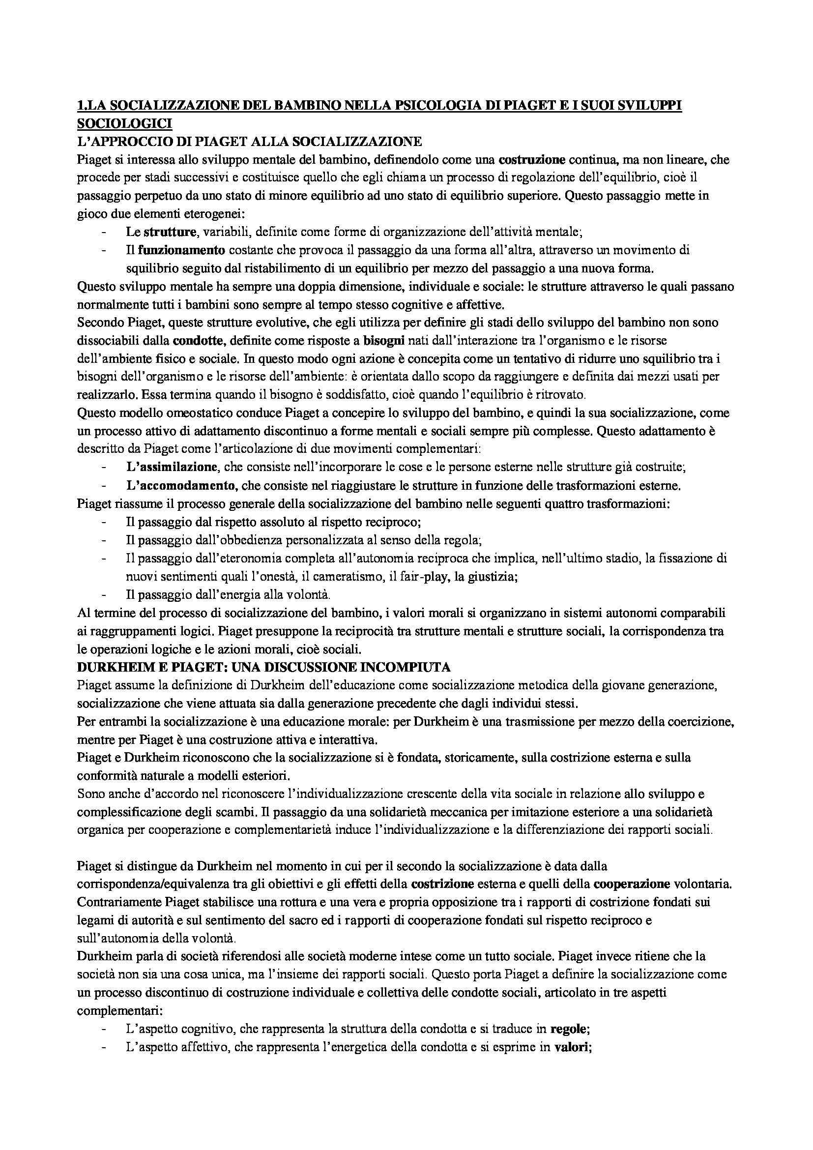 Riassunto esame Socializzazione primaria, prof. Migliorati, libro consigliato La socializzazione, Dubar