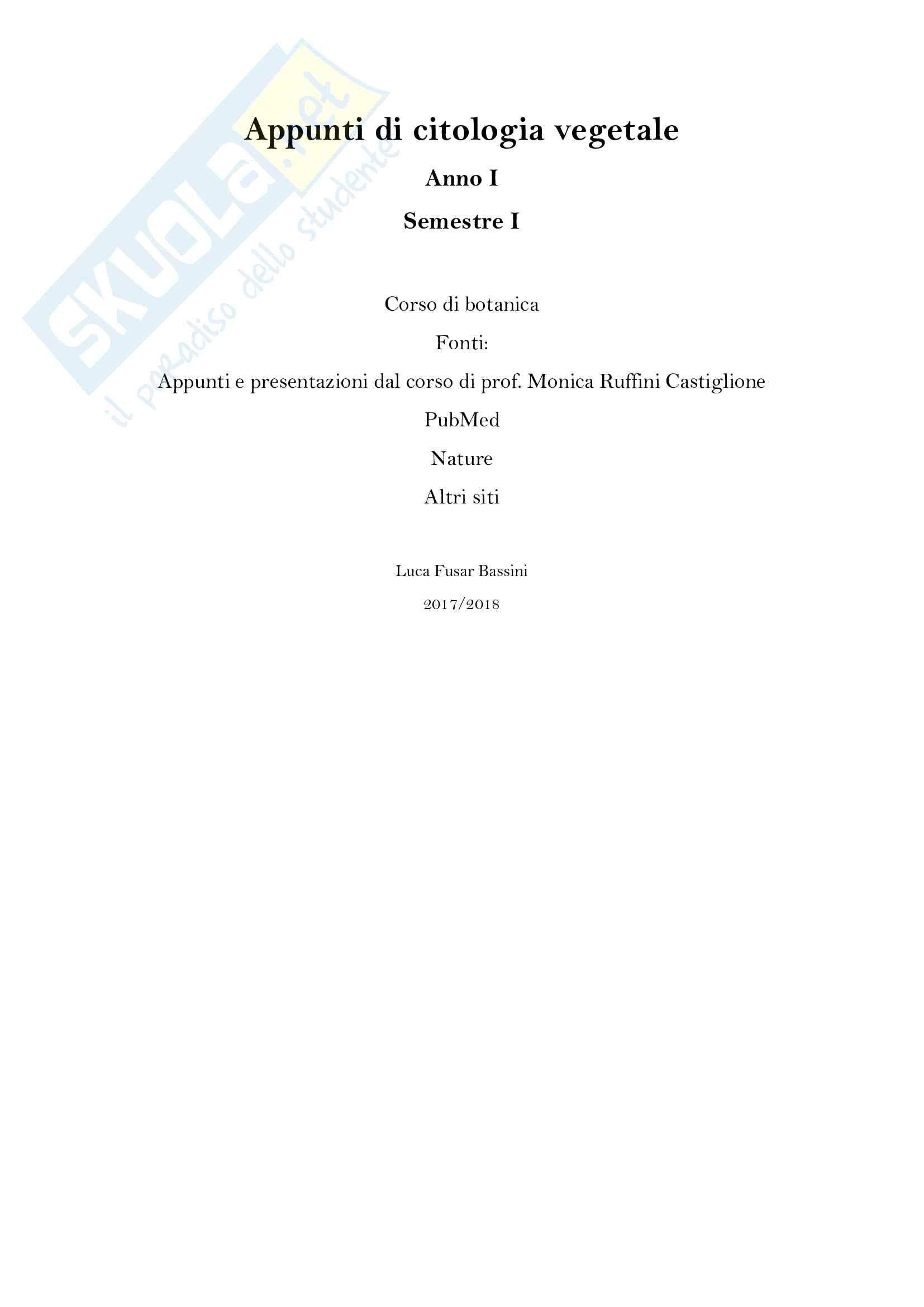 Appunti di Citologia vegetale, anno I, semestre I