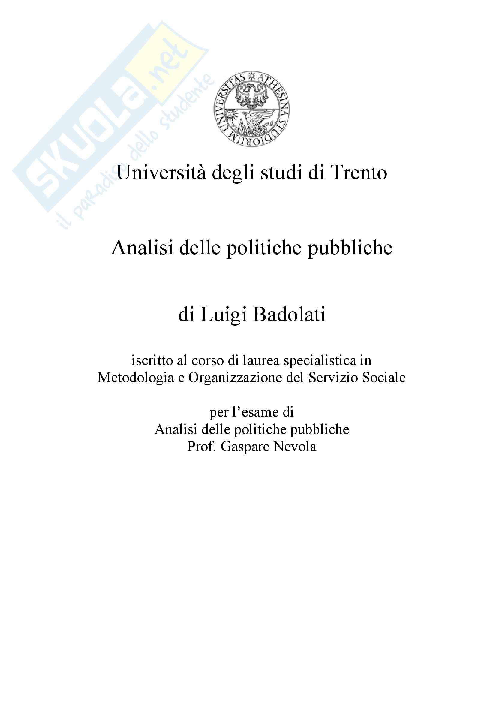 Analisi delle politiche pubbliche - il ciclo delle politiche pubbliche