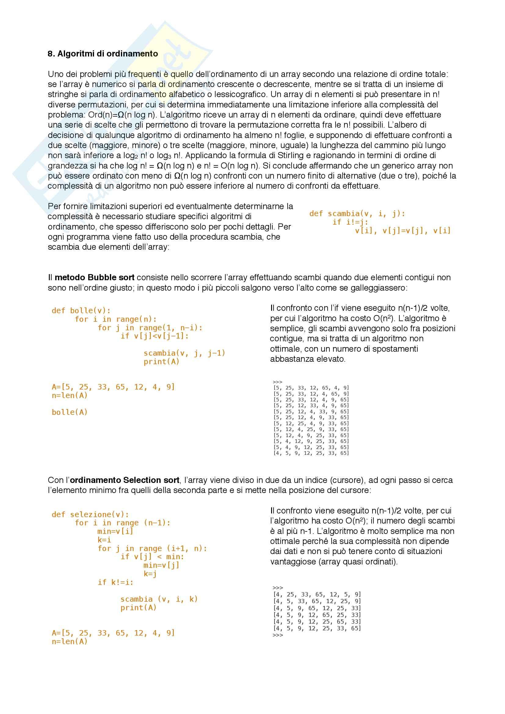 Riassunto esame Algoritmica, prof. Romani, libro consigliato Elementi di Algoritmica di Francesco Romani Pag. 16