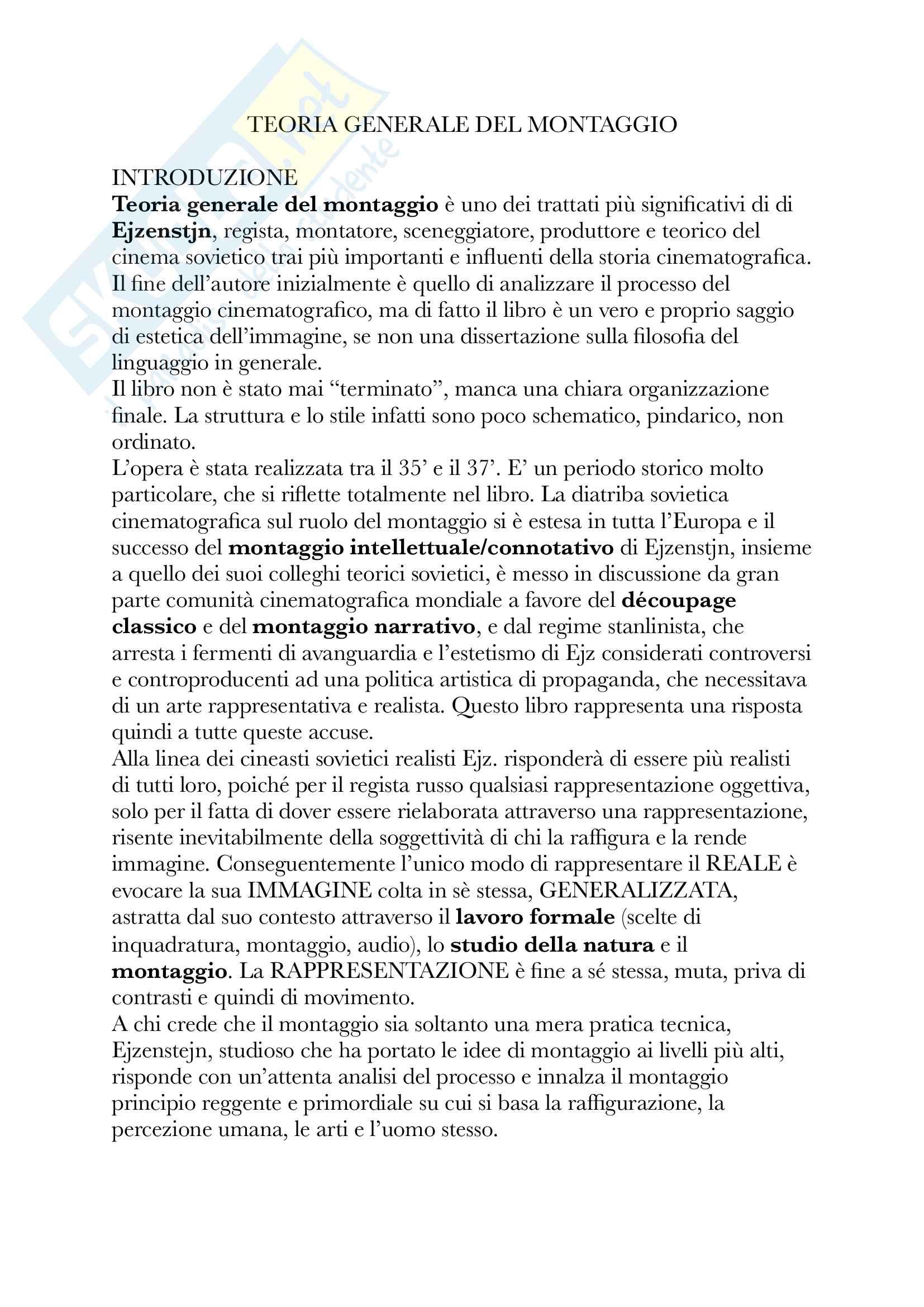 Riassunto esame Teoria e tecniche del montaggio cinematografico, Docente Rossi, Libro consigliato Teorie Generale del montaggio