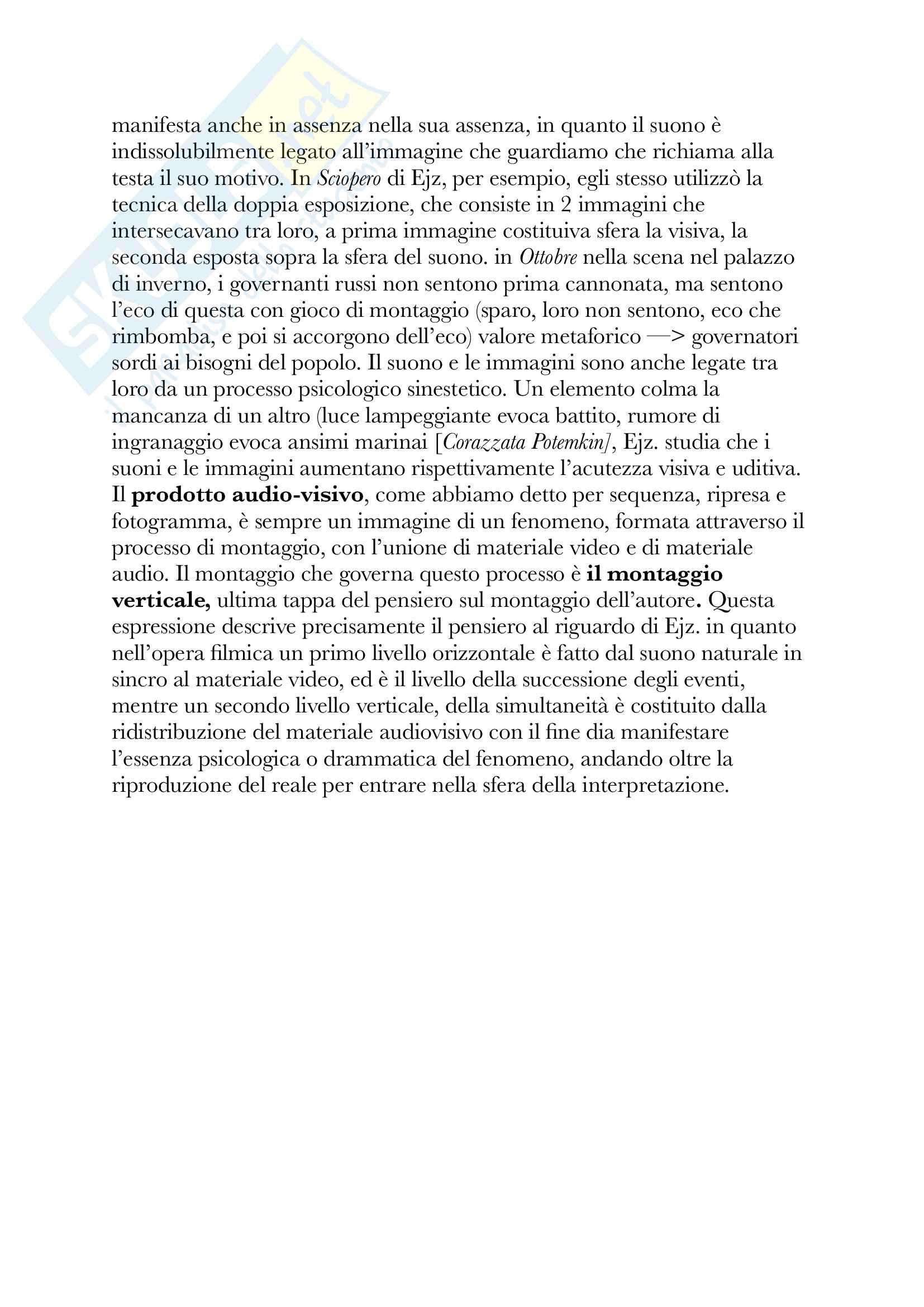 Riassunto esame Teoria e tecniche del montaggio cinematografico, Docente Rossi, Libro consigliato Teorie Generale del montaggio Pag. 6