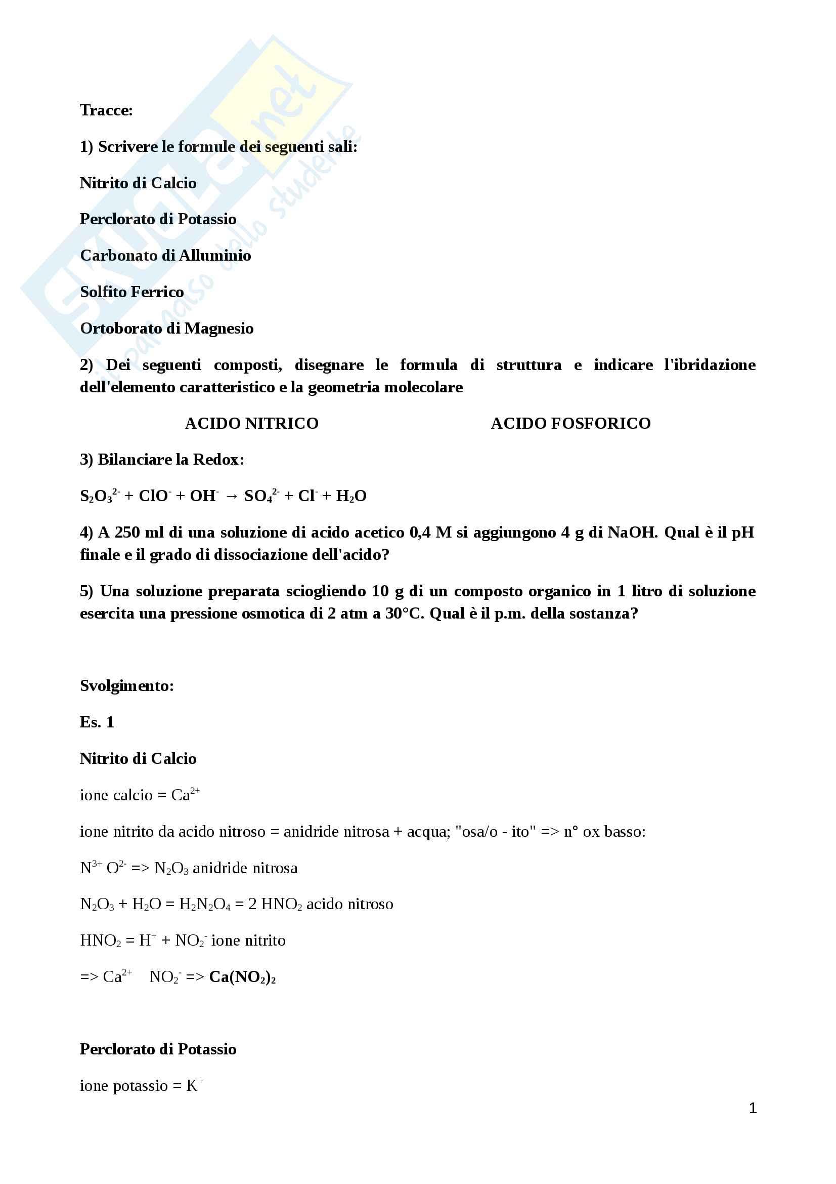 Chimica Generale Compito Esame Medicina 2013 14 I