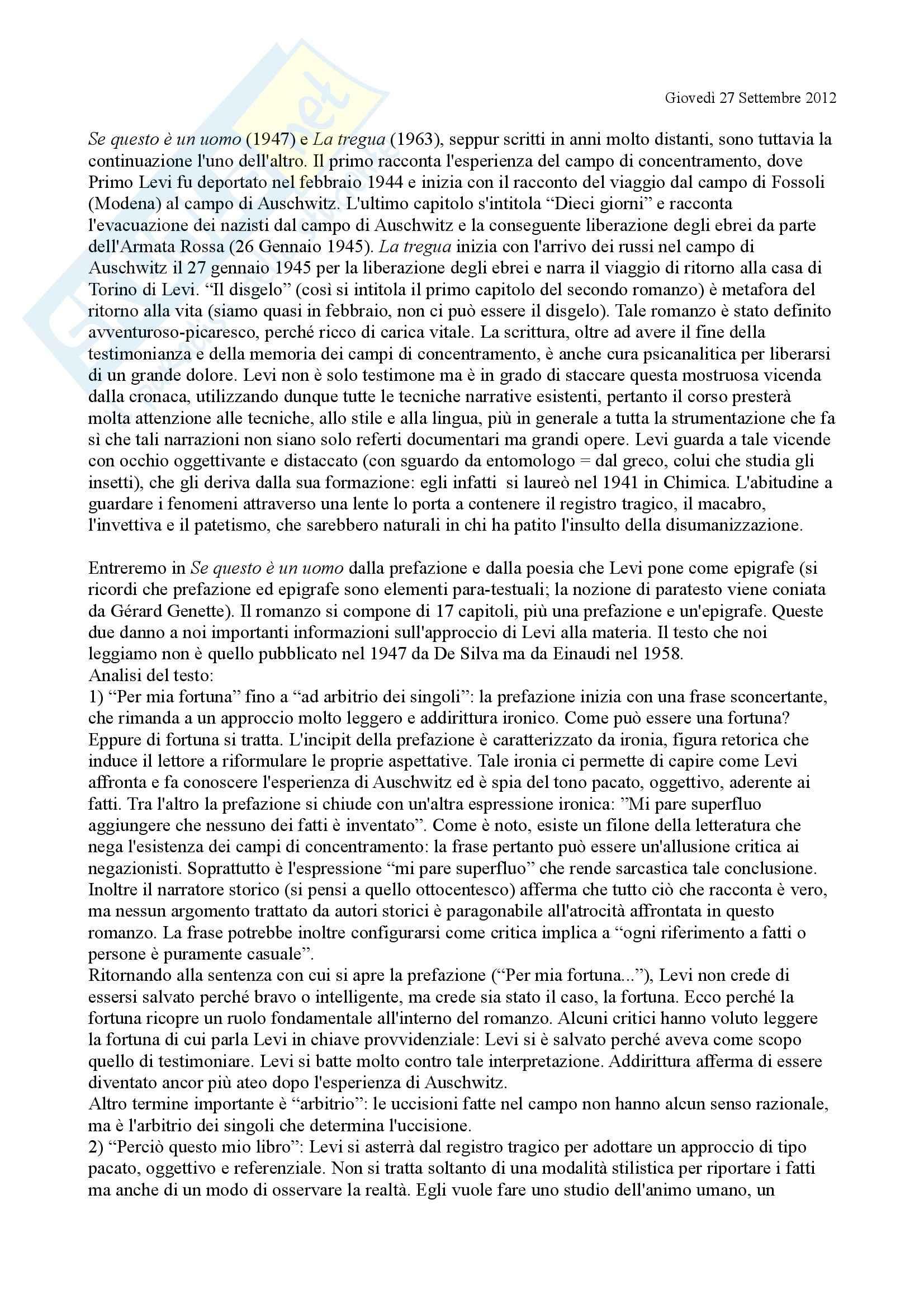 Letteratura italiana - Se questo è un uomo/ La Tregua