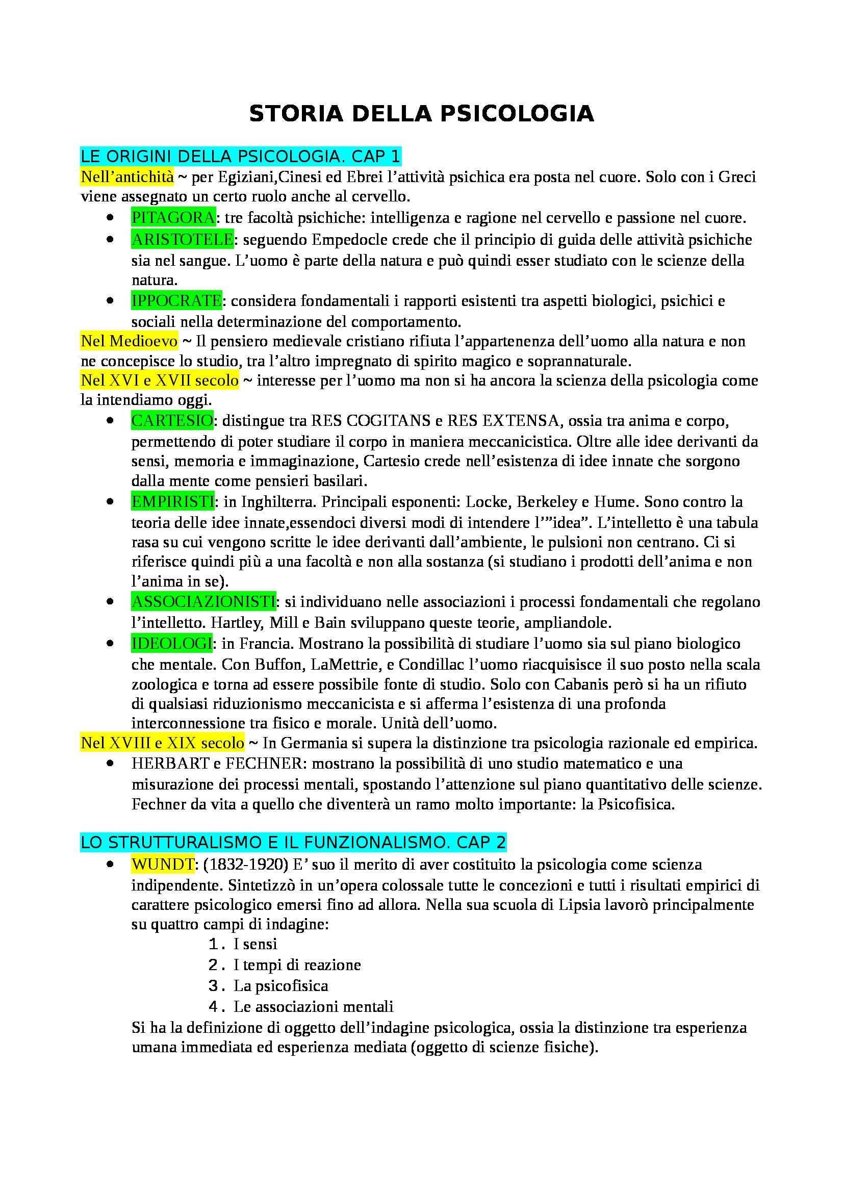 Riassunto esame Storia della Psicologia, prof. Ceccarelli, libro consigliato Storia della Psicologia, di Legrenzi
