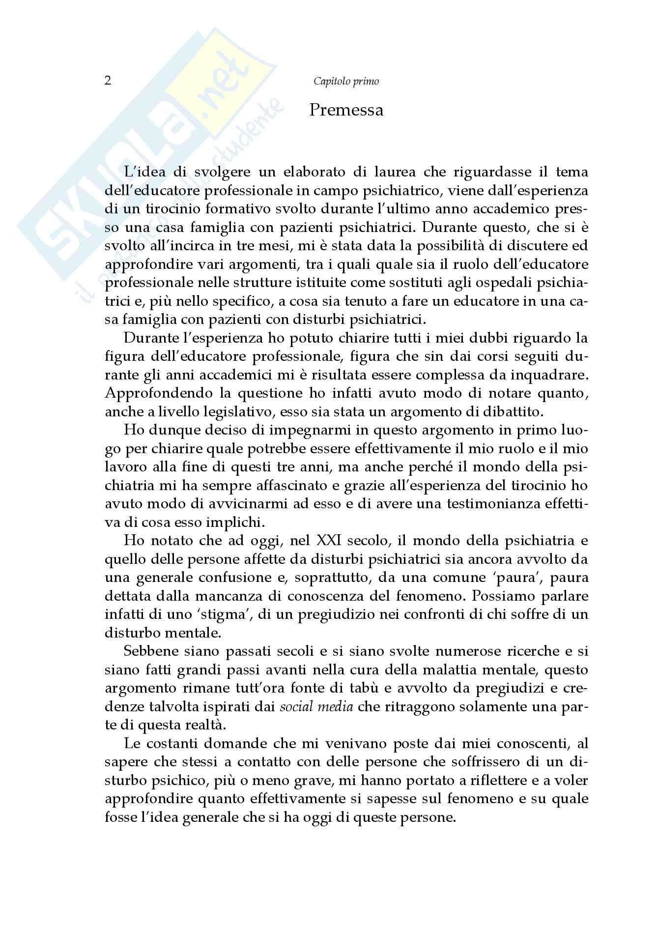 L'educatore professionale nella relazione con i pazienti psichiatrici, Tesi Pag. 6
