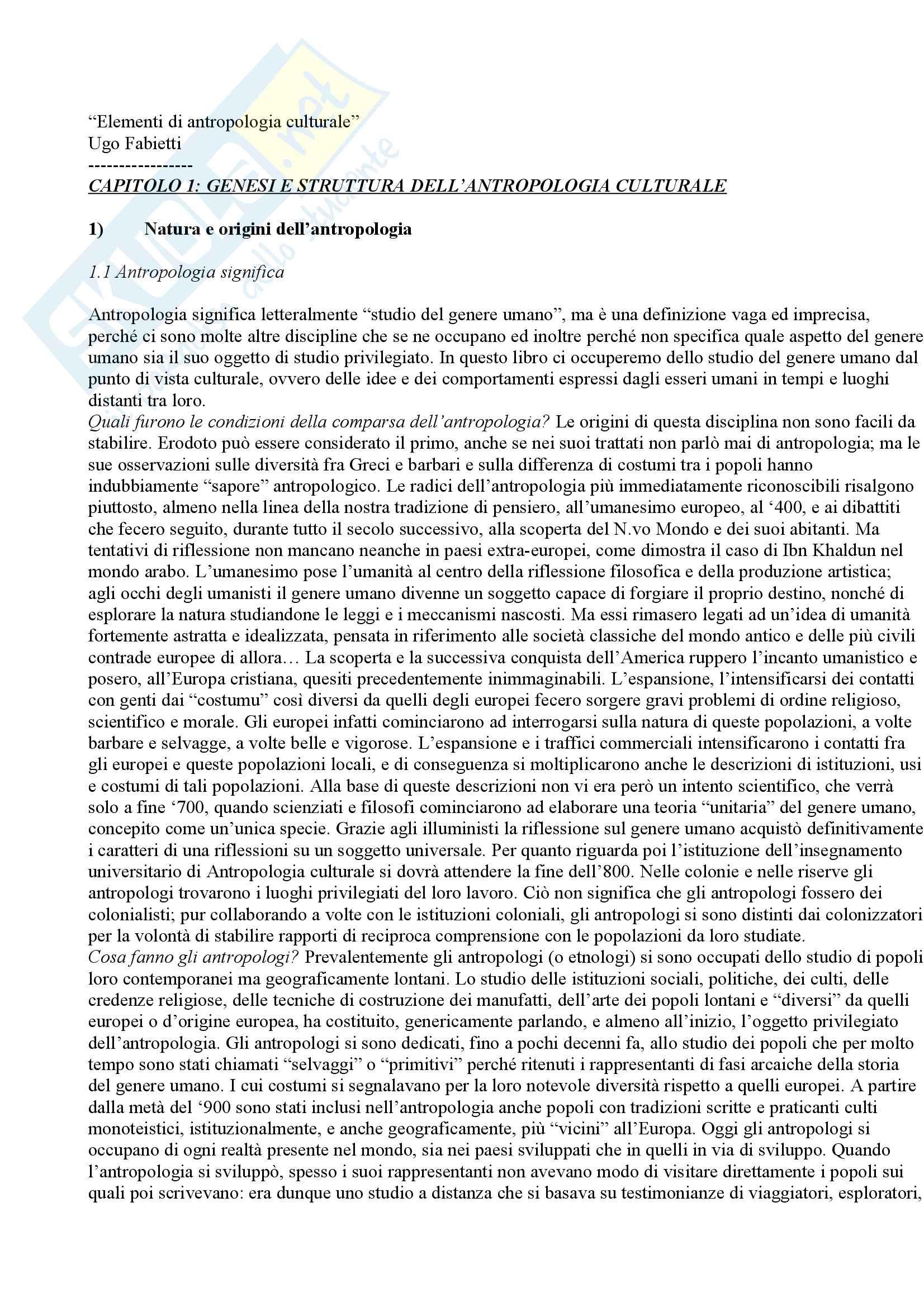 Riassunto per l'esame di antropologia culturale,docente Cristiana Natali, libro consigliato Elementi di antropologia culturale, Fabietti