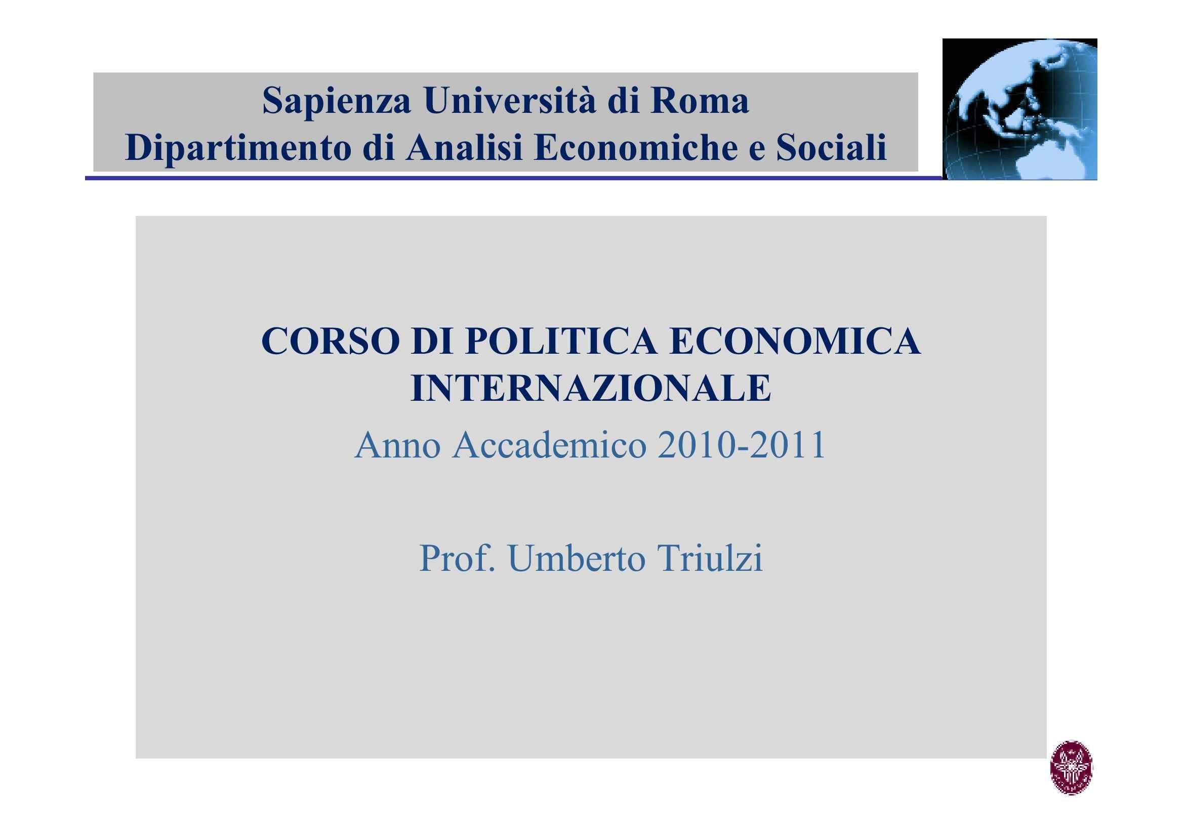 Beni pubblici e cooperazione internazionale