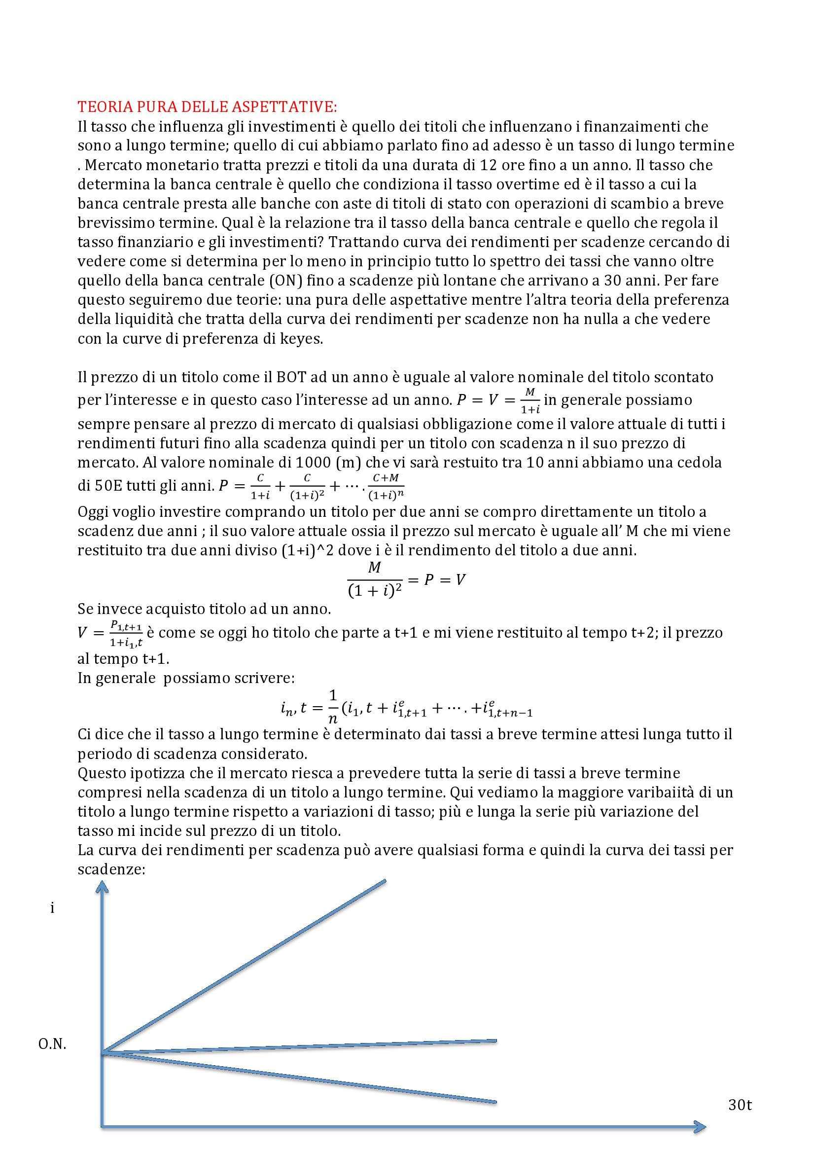 Economia monetaria e degli intermediari finanziari - teoria pura delle aspettative