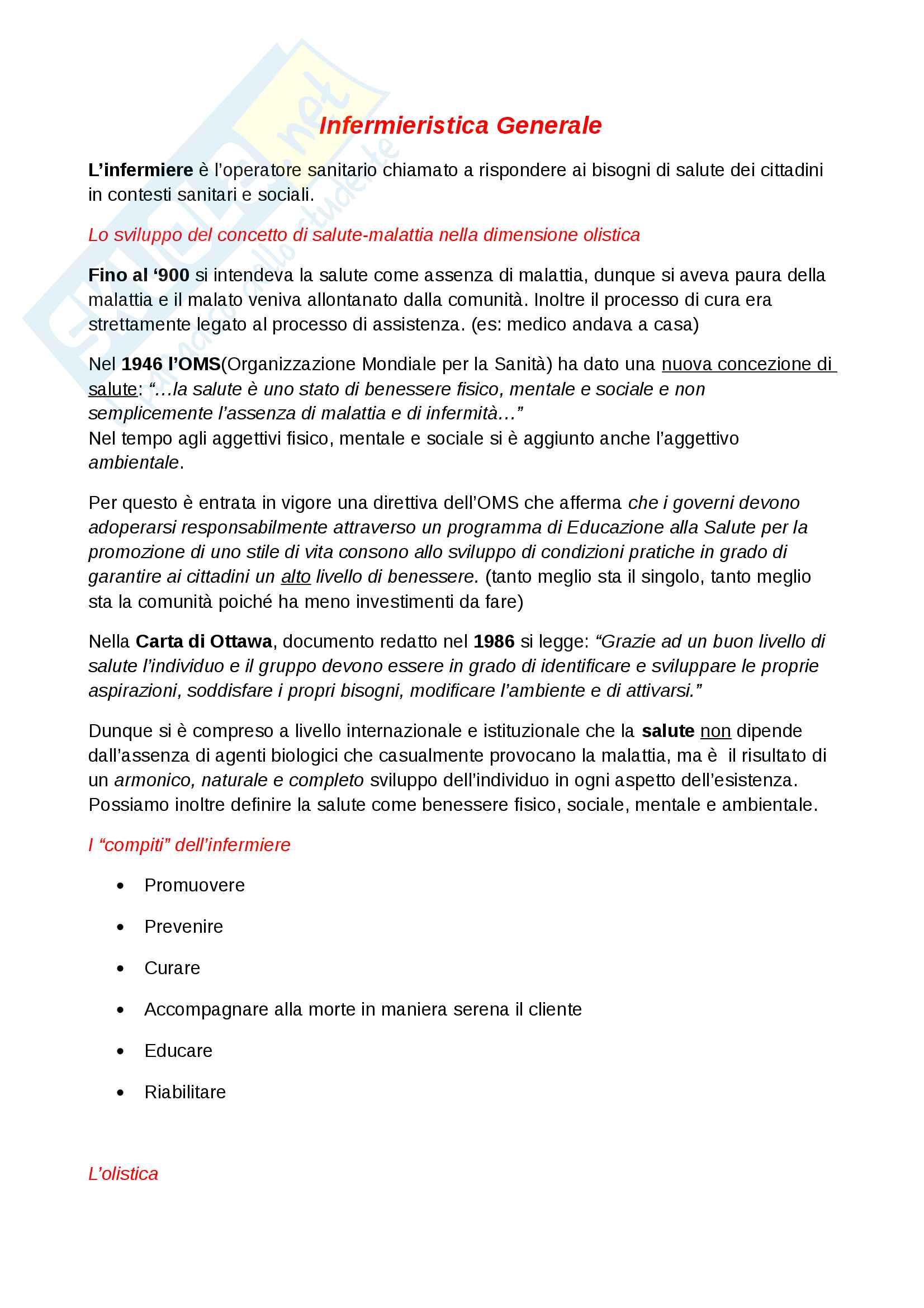 Infermieristica Generale-Appunti Completi