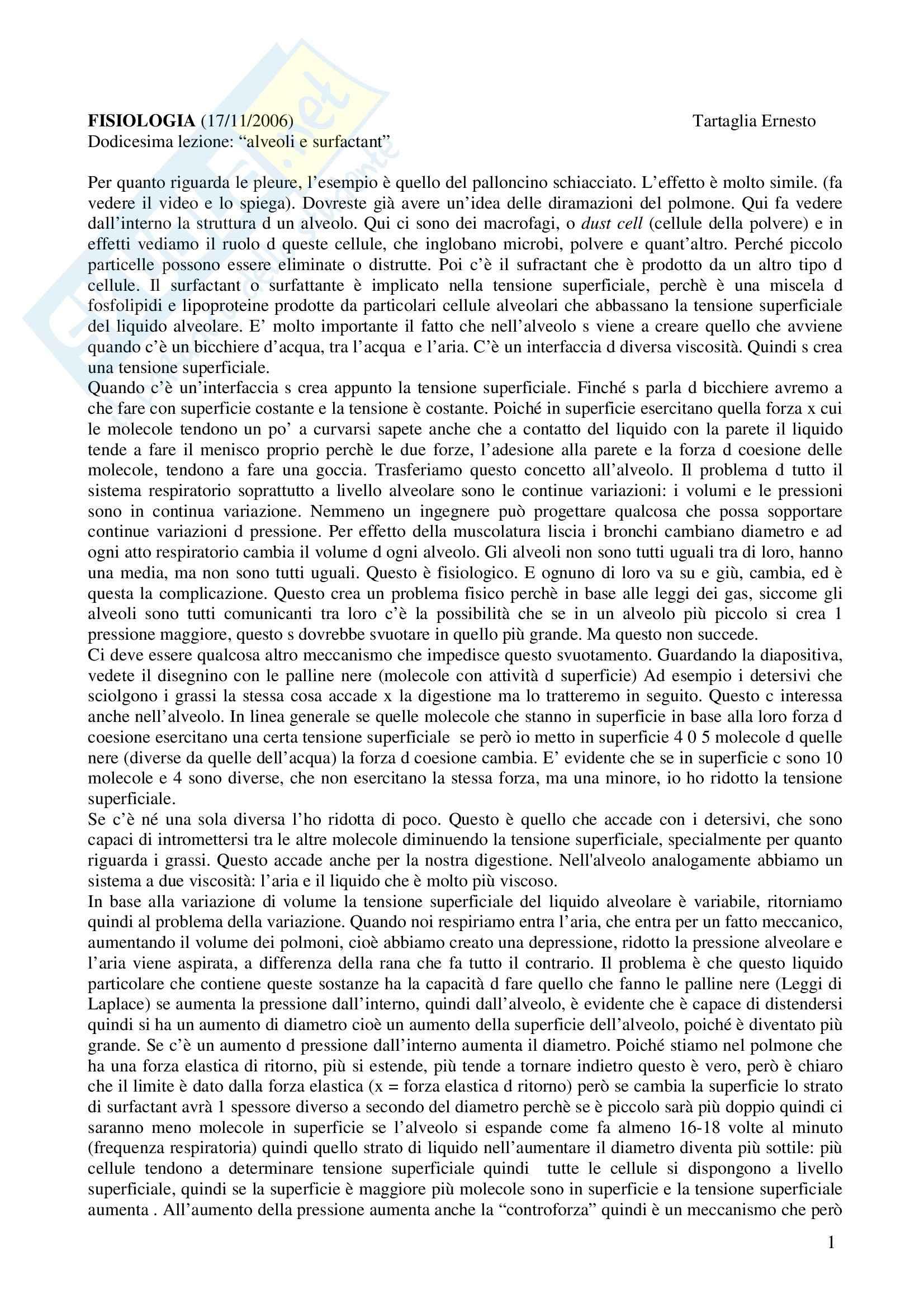 Fisiologia e biofisica - alveoli e surfactant