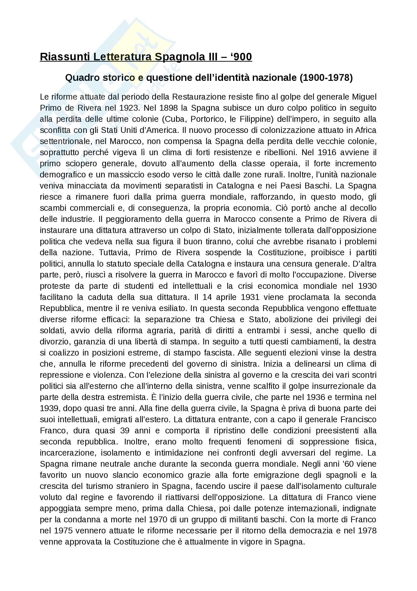 Contesto storico 900 spagnolo