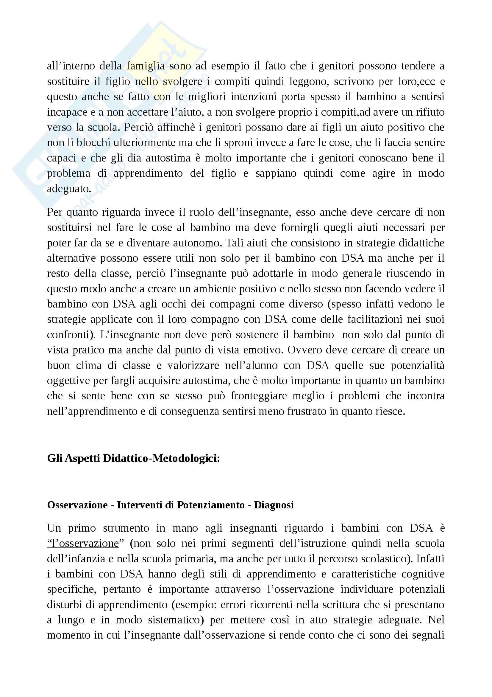 Riassunto esame Didattica, prof.  Chiappetta Cajola, libro consigliato  I disturbi specifici di apprendimento, Esposito Pag. 6