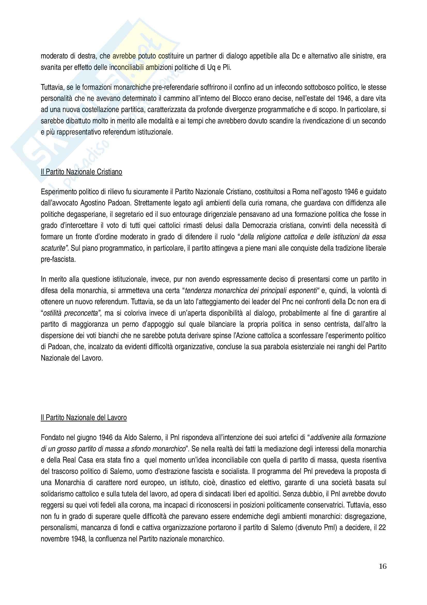 Riassunto esame Storia dei partiti politici, prof. Ungari, libro consigliato In nome del re: I monarchici italiani dal 1943 al 1948 Pag. 16