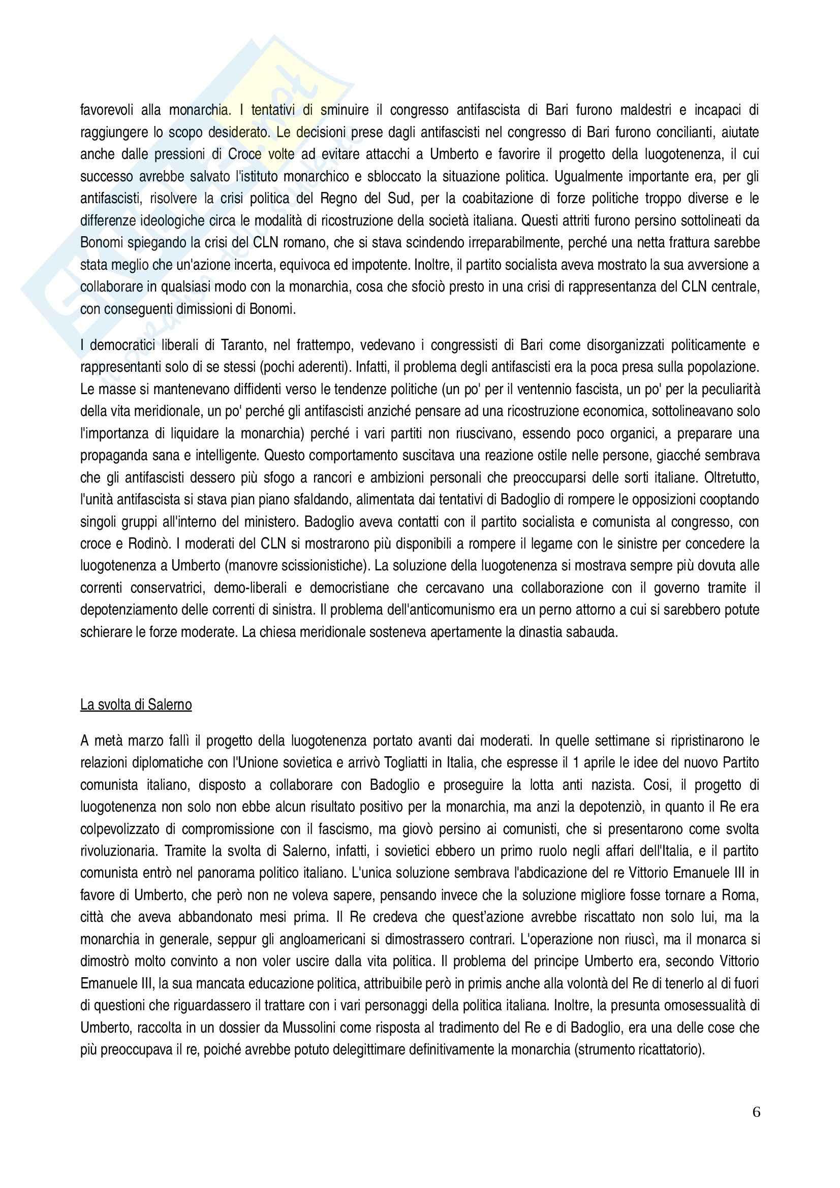 Riassunto esame Storia dei partiti politici, prof. Ungari, libro consigliato In nome del re: I monarchici italiani dal 1943 al 1948 Pag. 6
