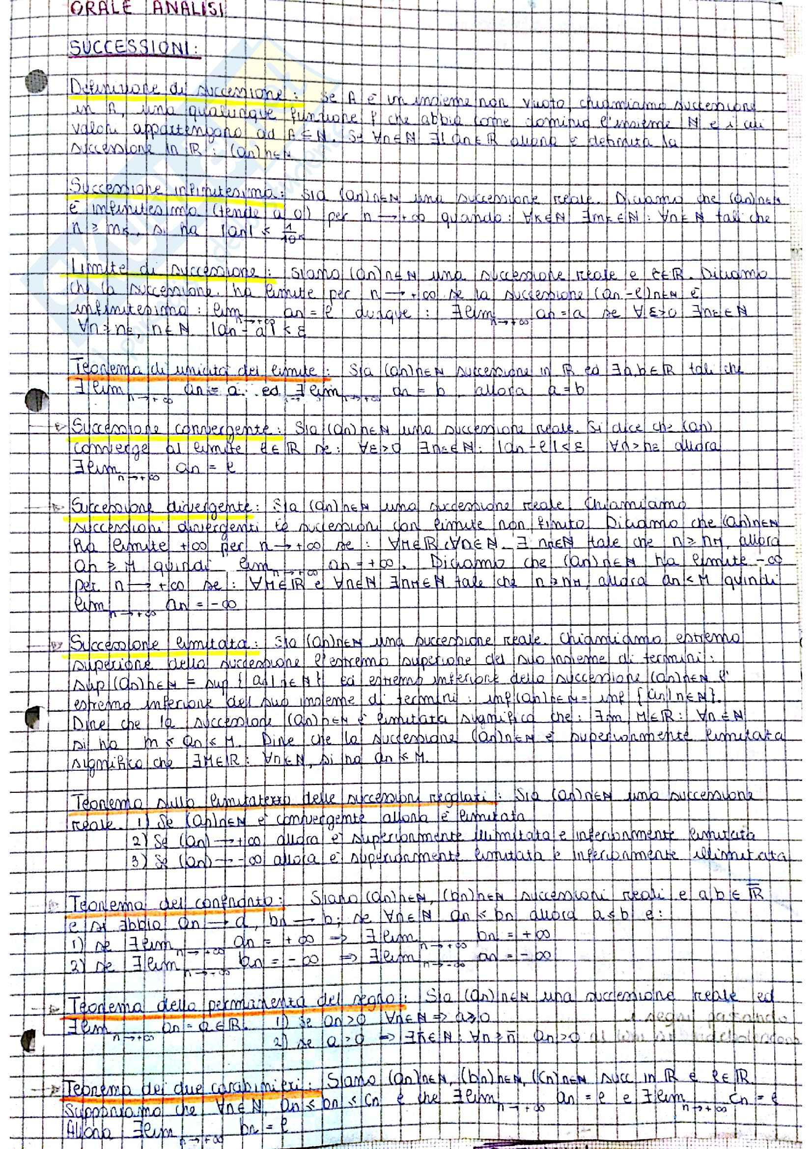 Analisi 1 - Teoria