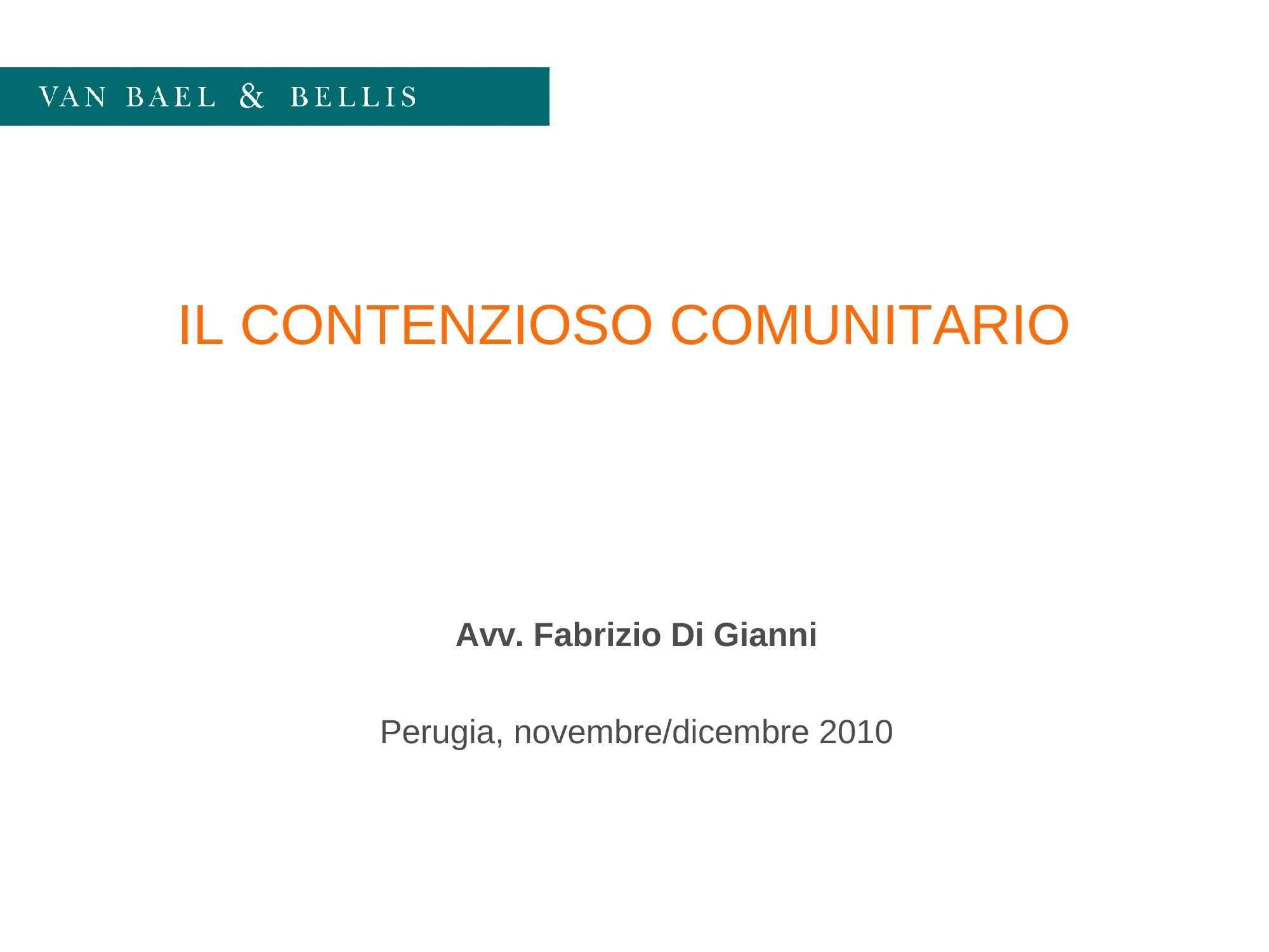 Contenzioso comunitario - Programma