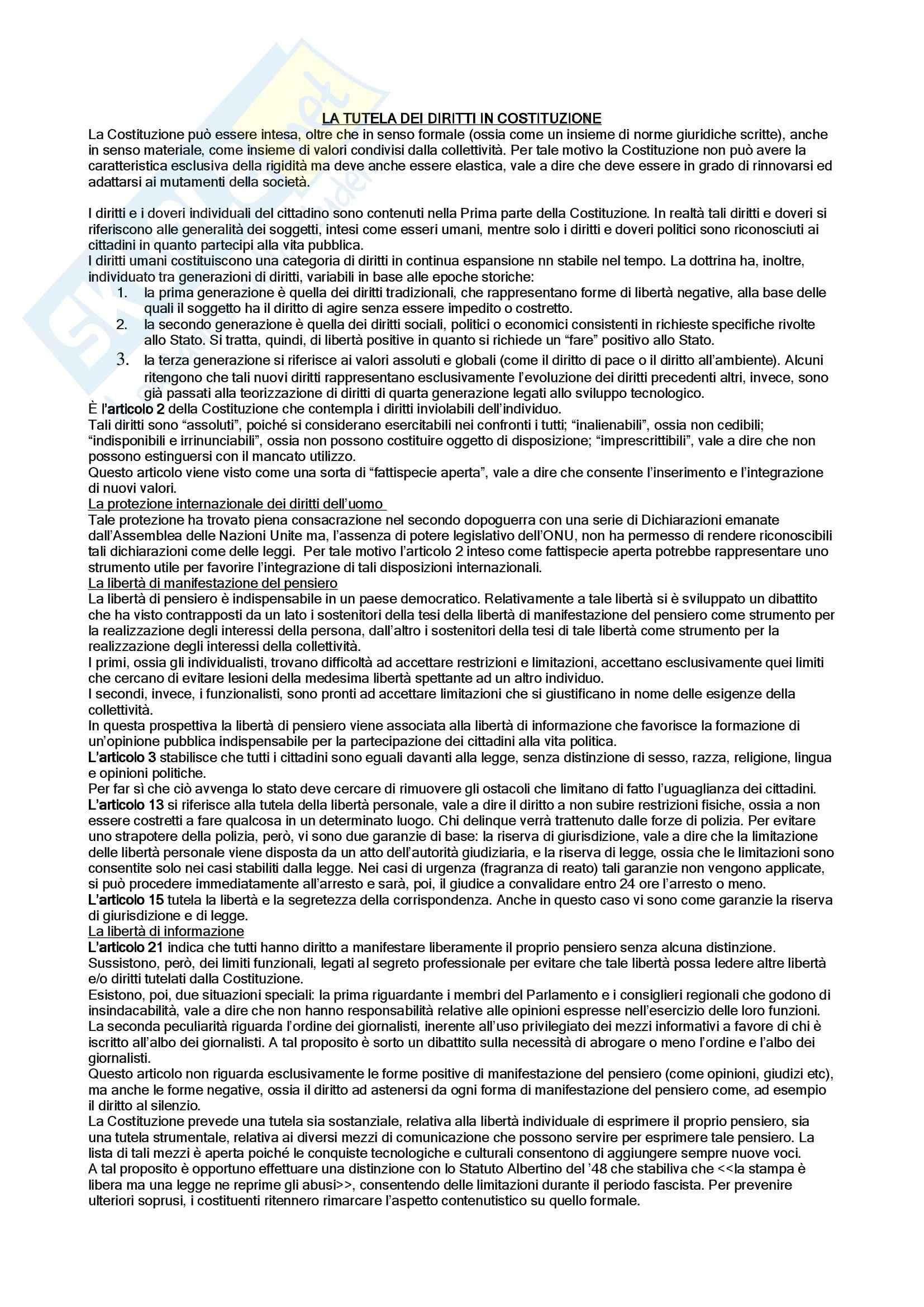 Diritto dell'informazione e della comunicazione - la tutela costituzionale dei diritti
