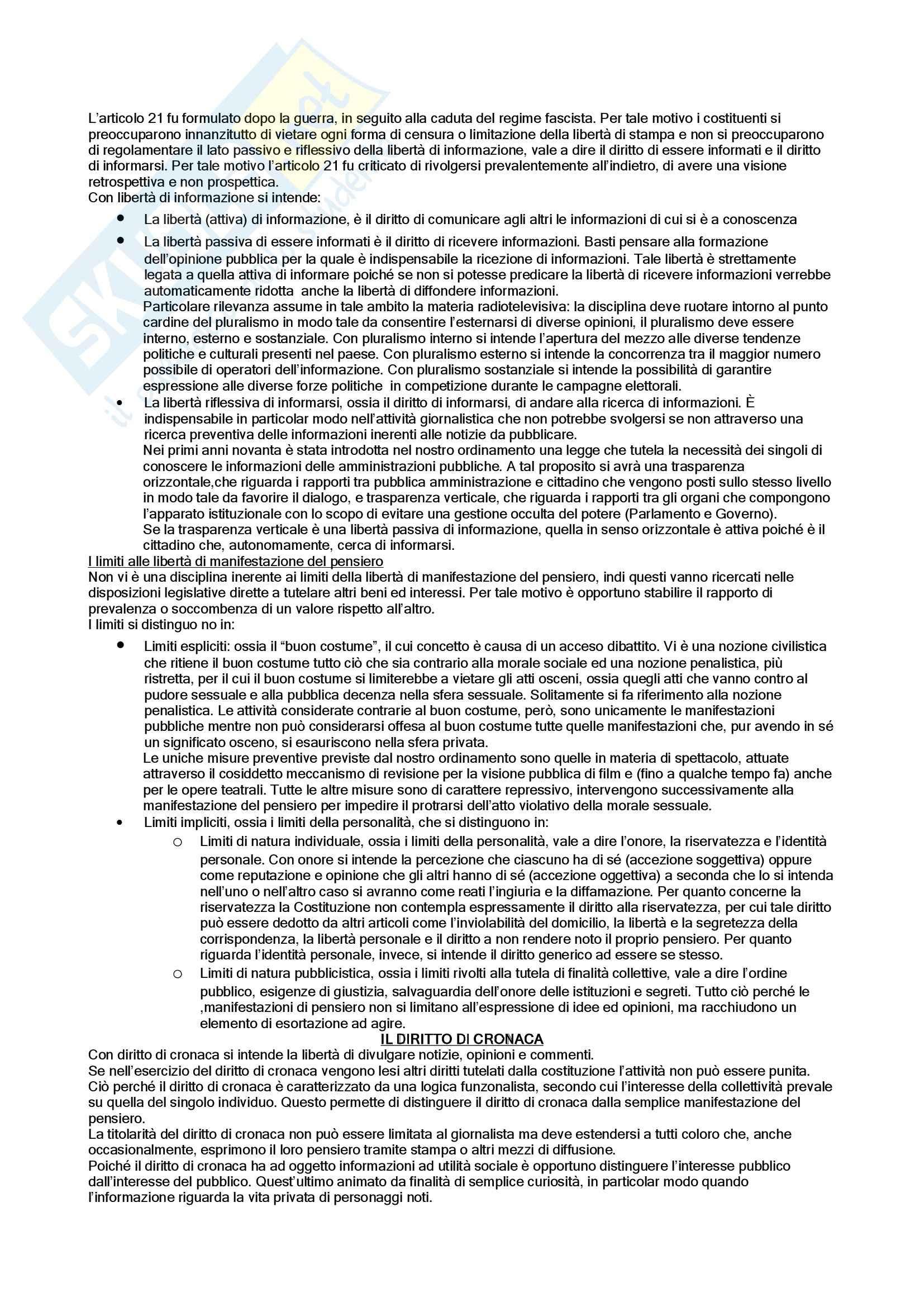 Diritto dell'informazione e della comunicazione - la tutela costituzionale dei diritti Pag. 2