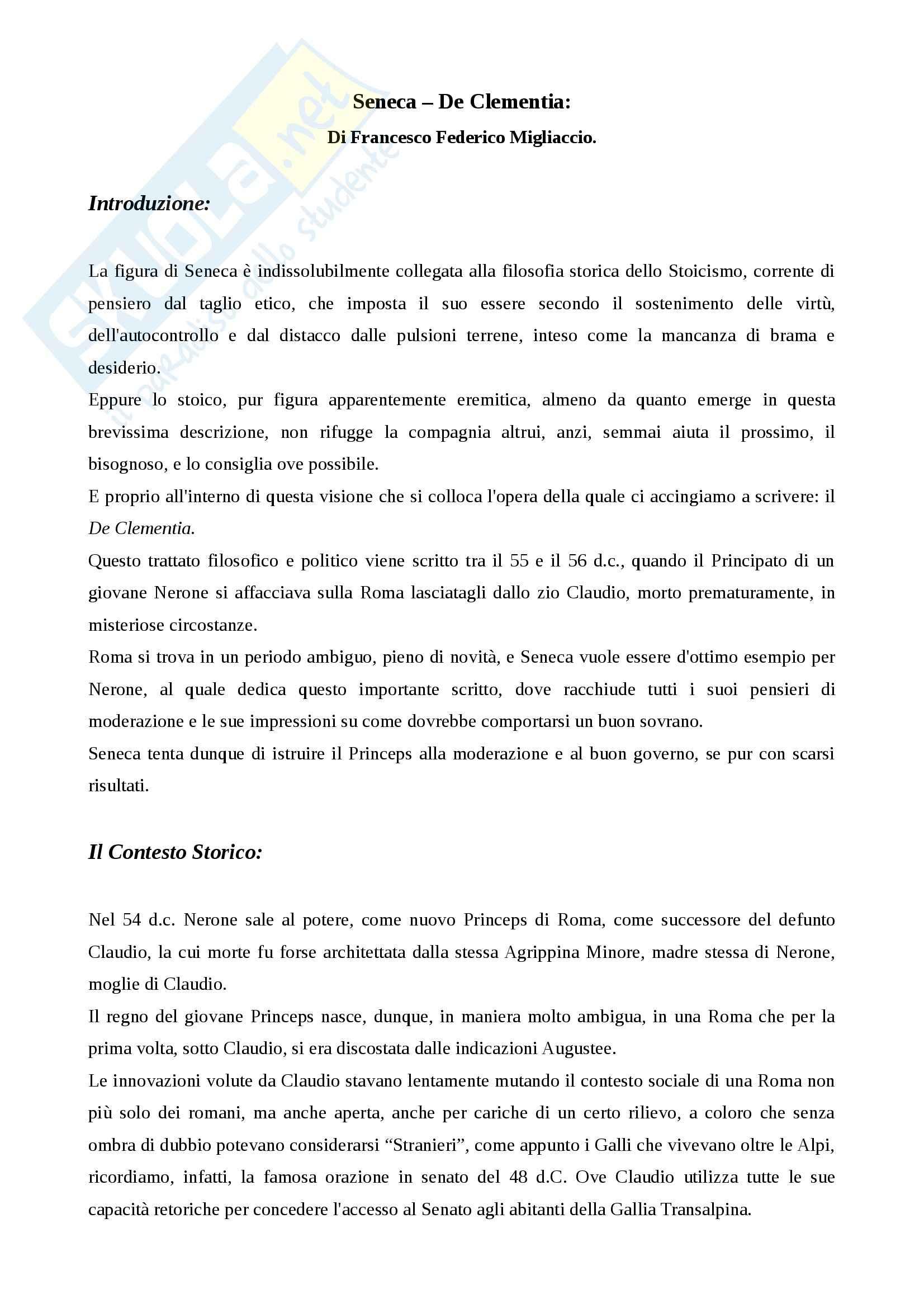 Lingua e letteratura latina - De clementia, Seneca