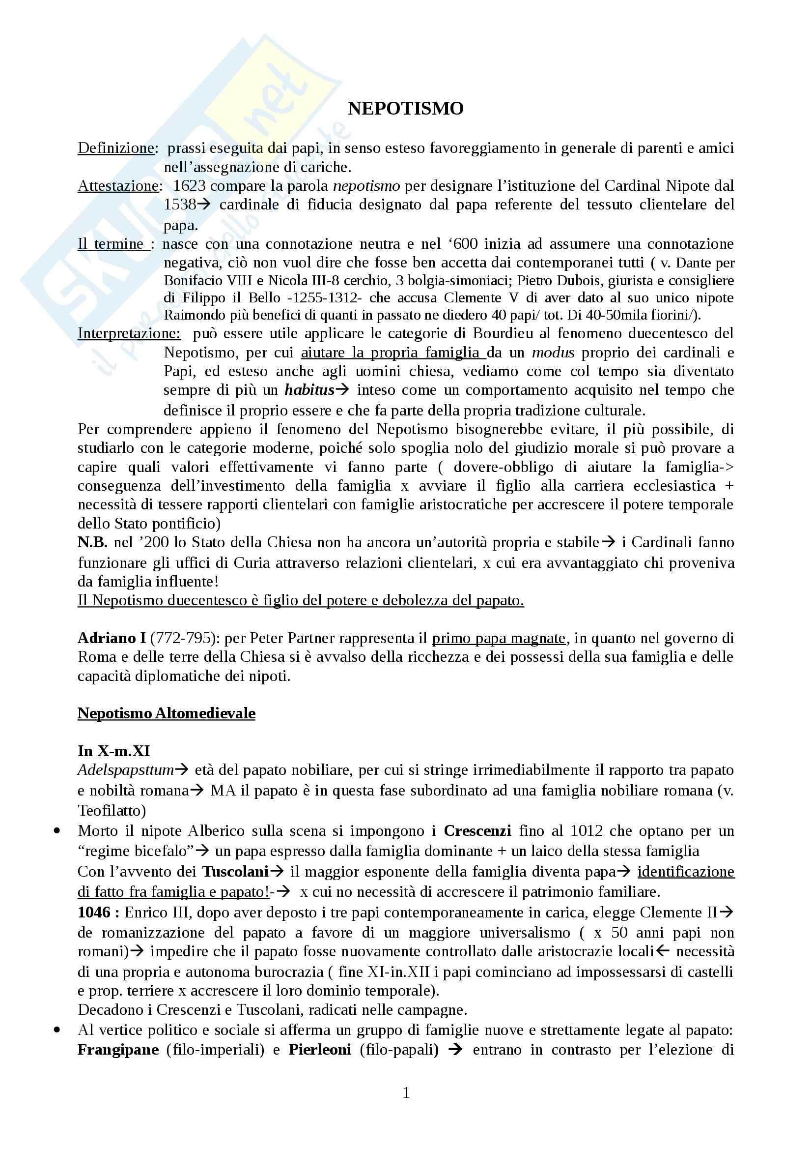 Riassunto esame Storia medievale, prof. Carocci, libro consigliato Il Nepotismo nel Medioevo, S. Carocci