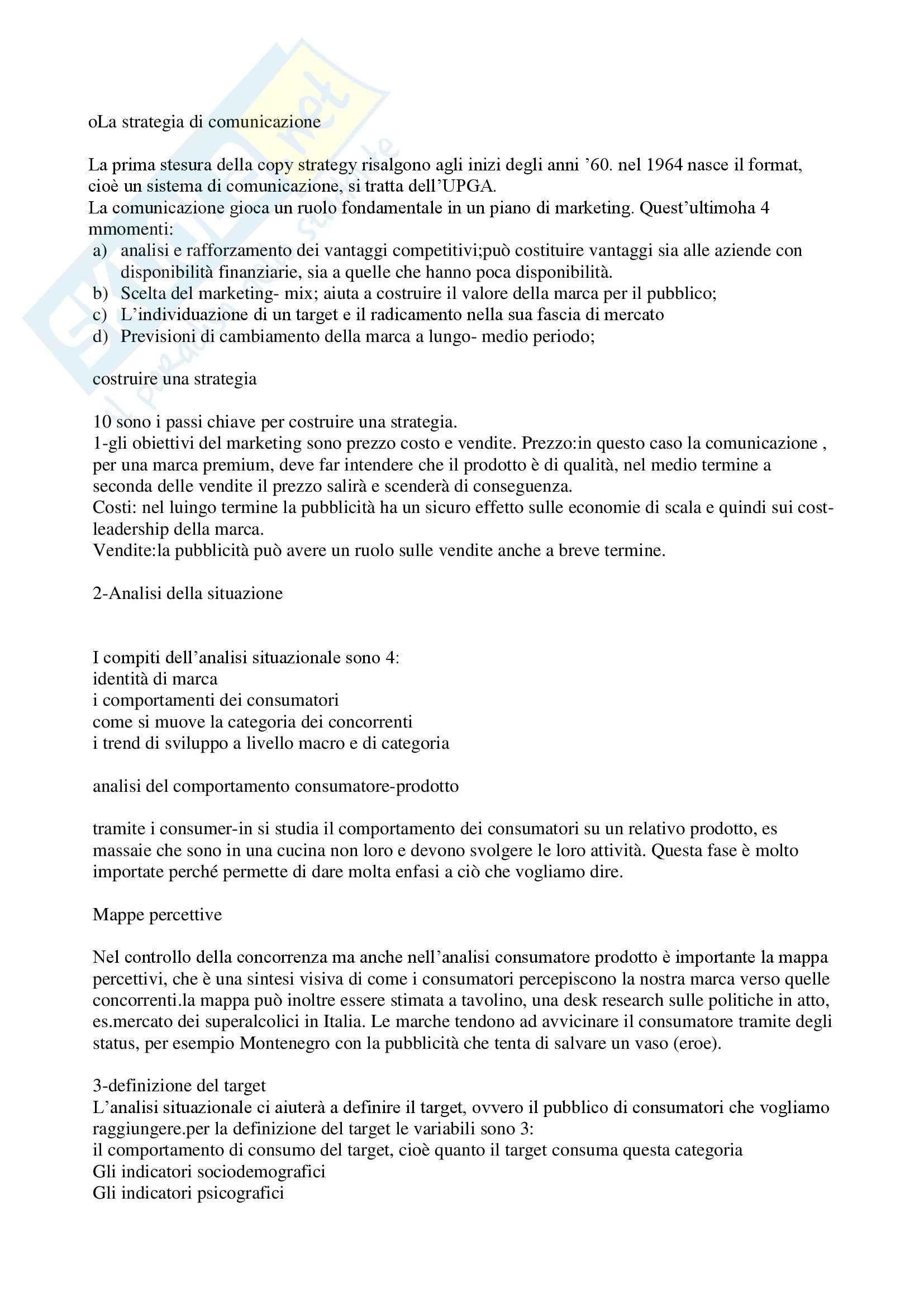 Tecnica della comunicazione pubblicitaria - la strategia di comunicazione