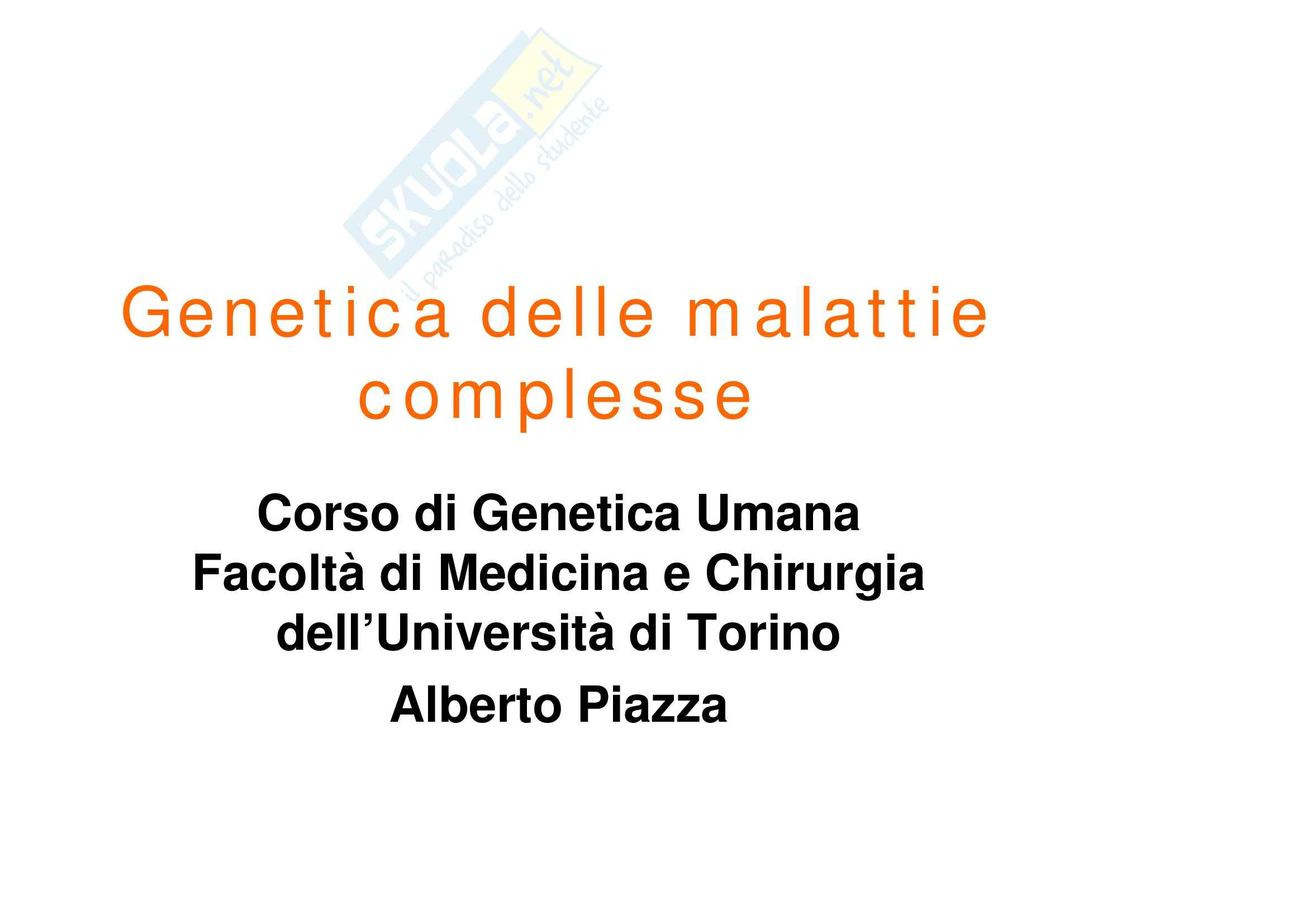 Genetica umana - genetica delle malattie complesse