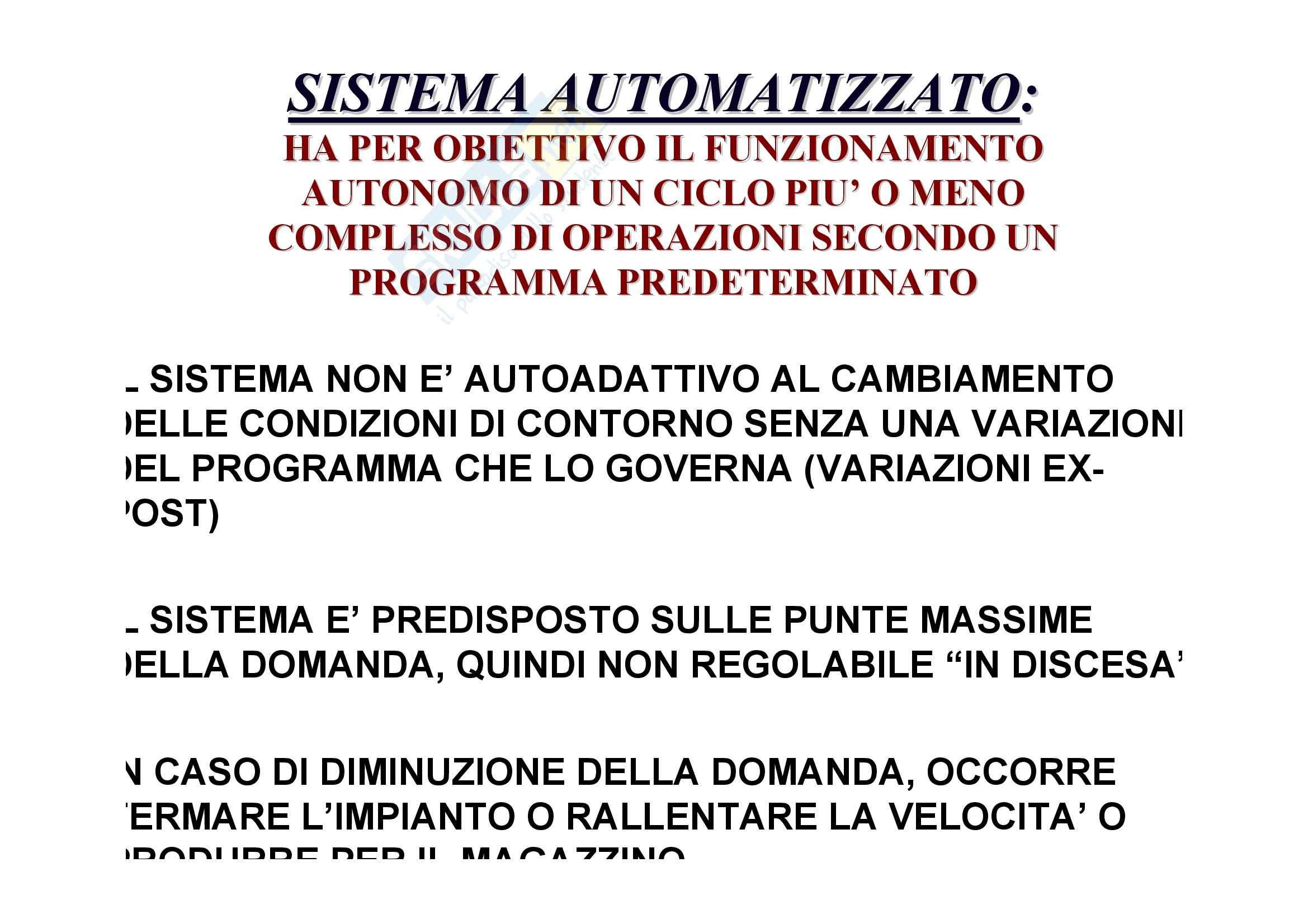 Tecnologia dei cicli produttivi - il sistema automatizzato