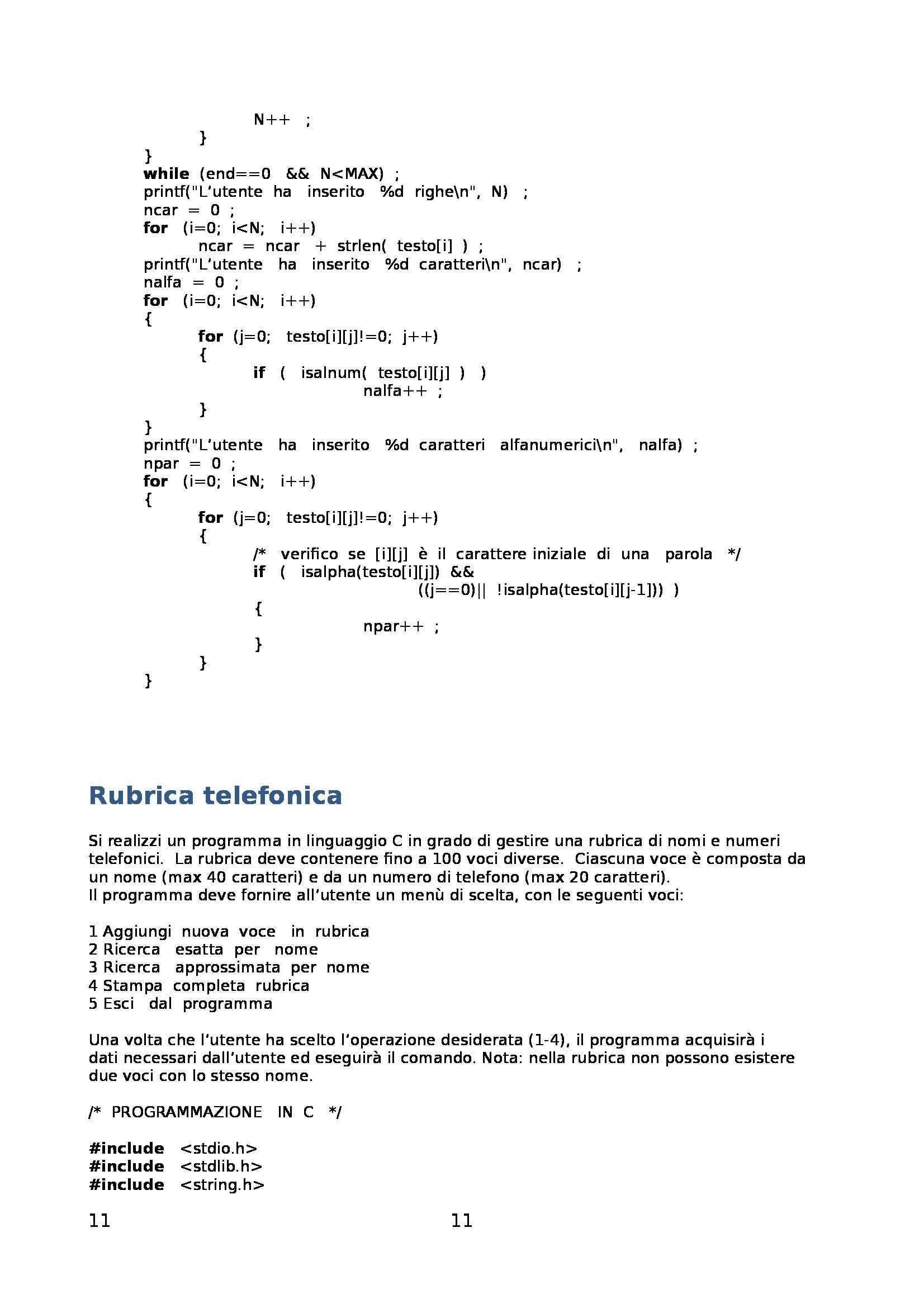 Fondamenti di informatica - Raccolta di esercizi svolti e commentati sul linguaggio di programmazione C Pag. 11