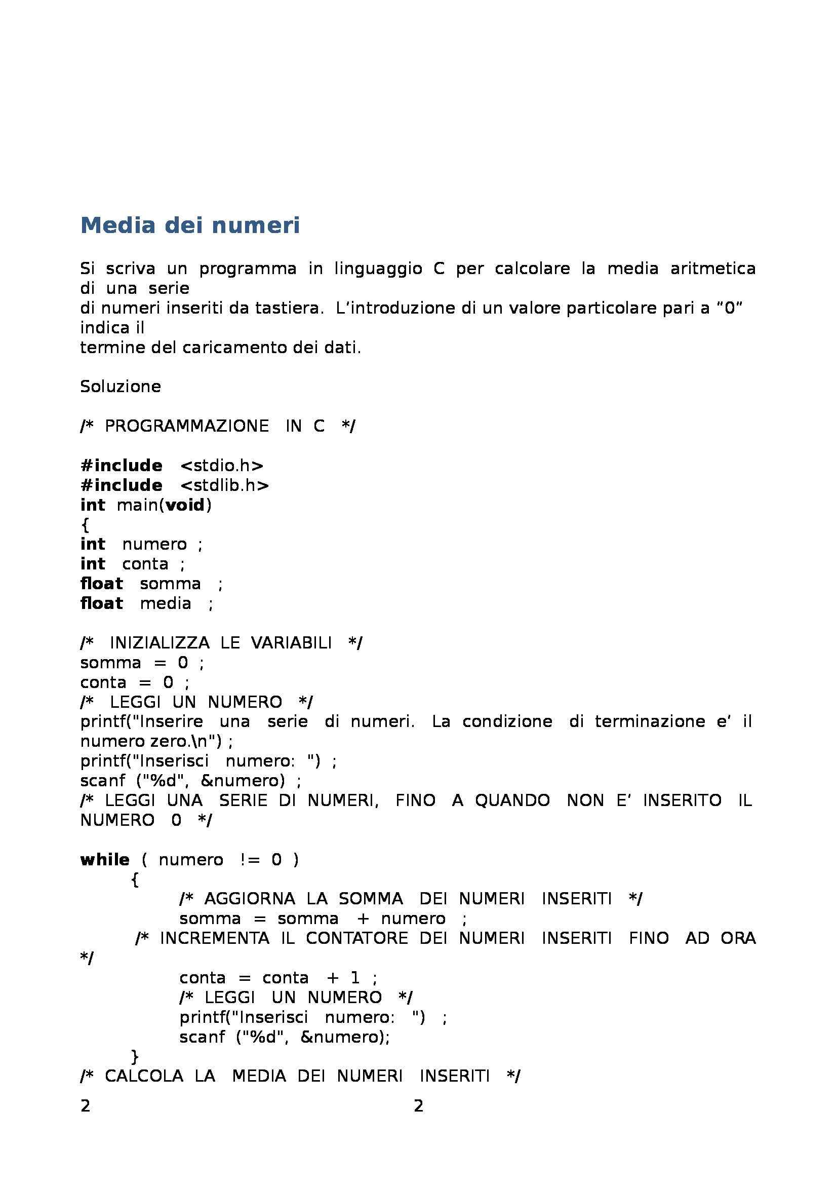 Fondamenti di informatica - Raccolta di esercizi svolti e commentati sul linguaggio di programmazione C Pag. 2