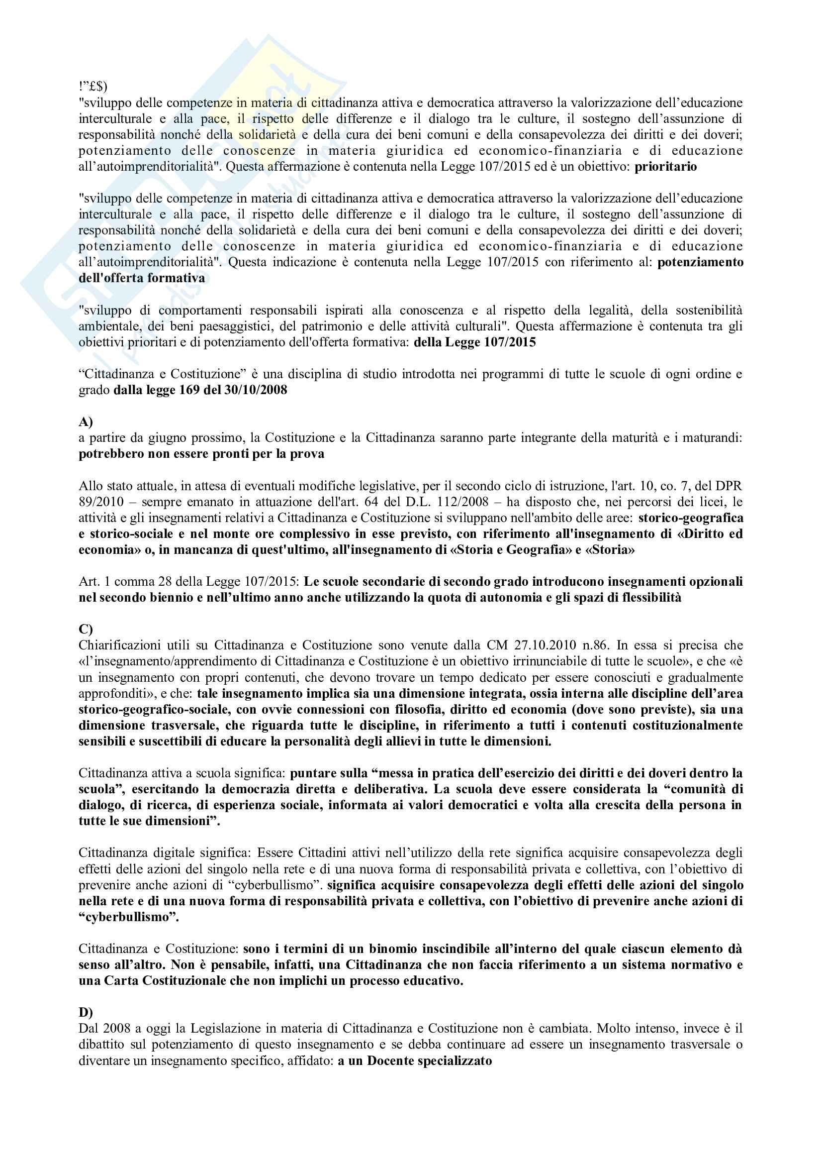 Paniere Compilato di Diritto Pubblico 2 - prof. De Sanctis - con domande in ordine alfabetico