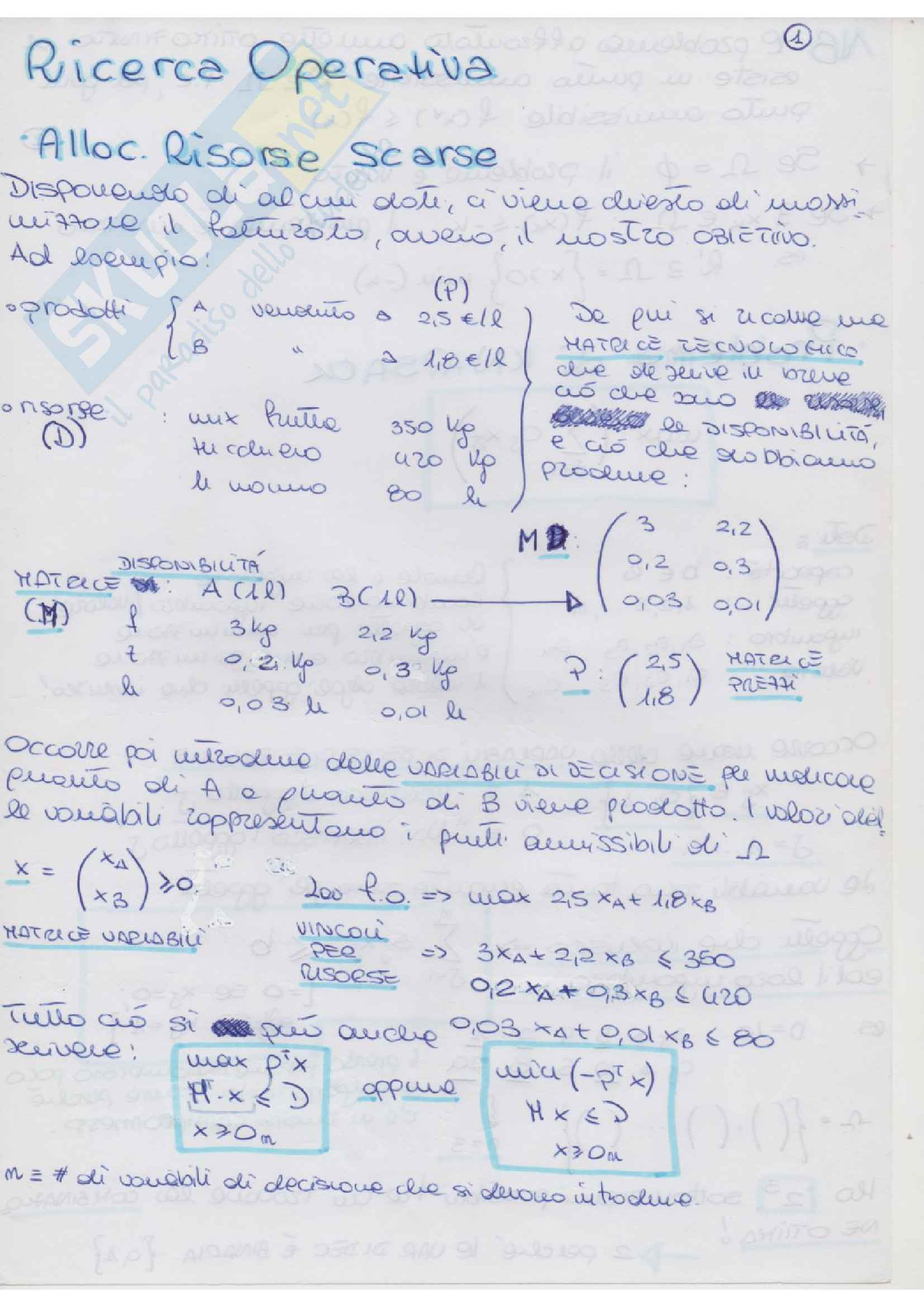 Riassunto esame Ricerca, prof. Pacifici, libro consigliato Lezioni di Ricerca Operativa, Fischetti