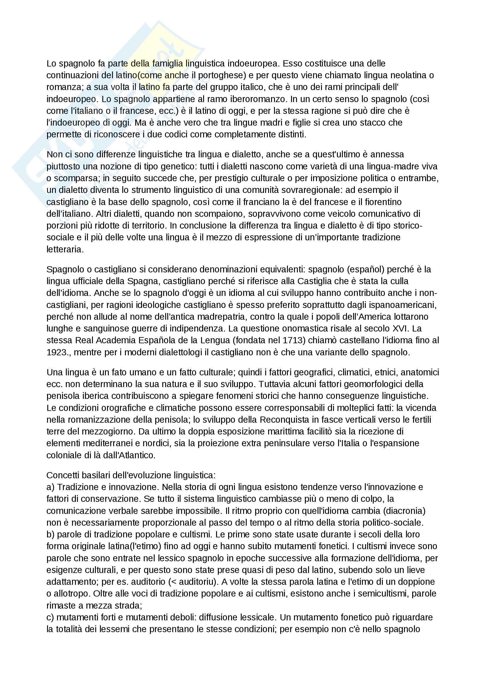 Riassunto esame Lingua spagnola, prof. Lefebvre, libro consigliato Storia della lingua spagnola, D'Agostino