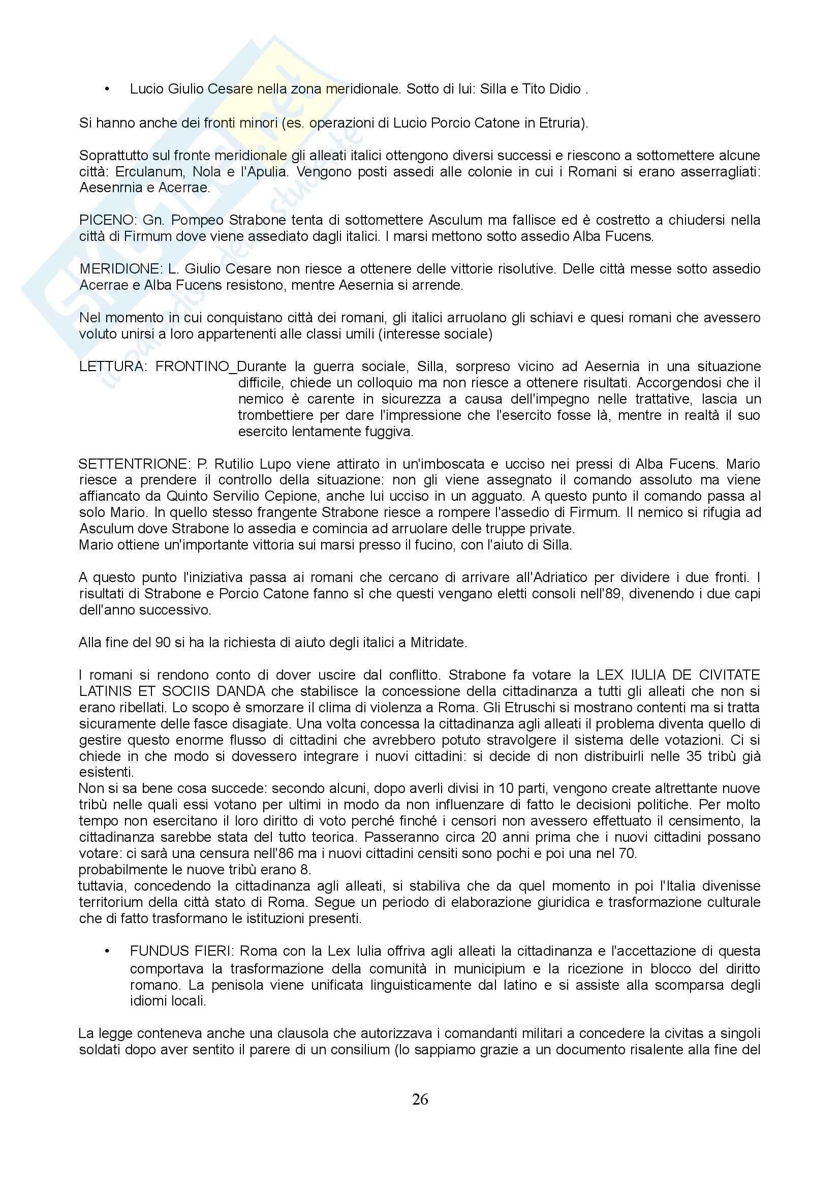 Storia romana 2 - Lucio Cornelio Silla Pag. 26