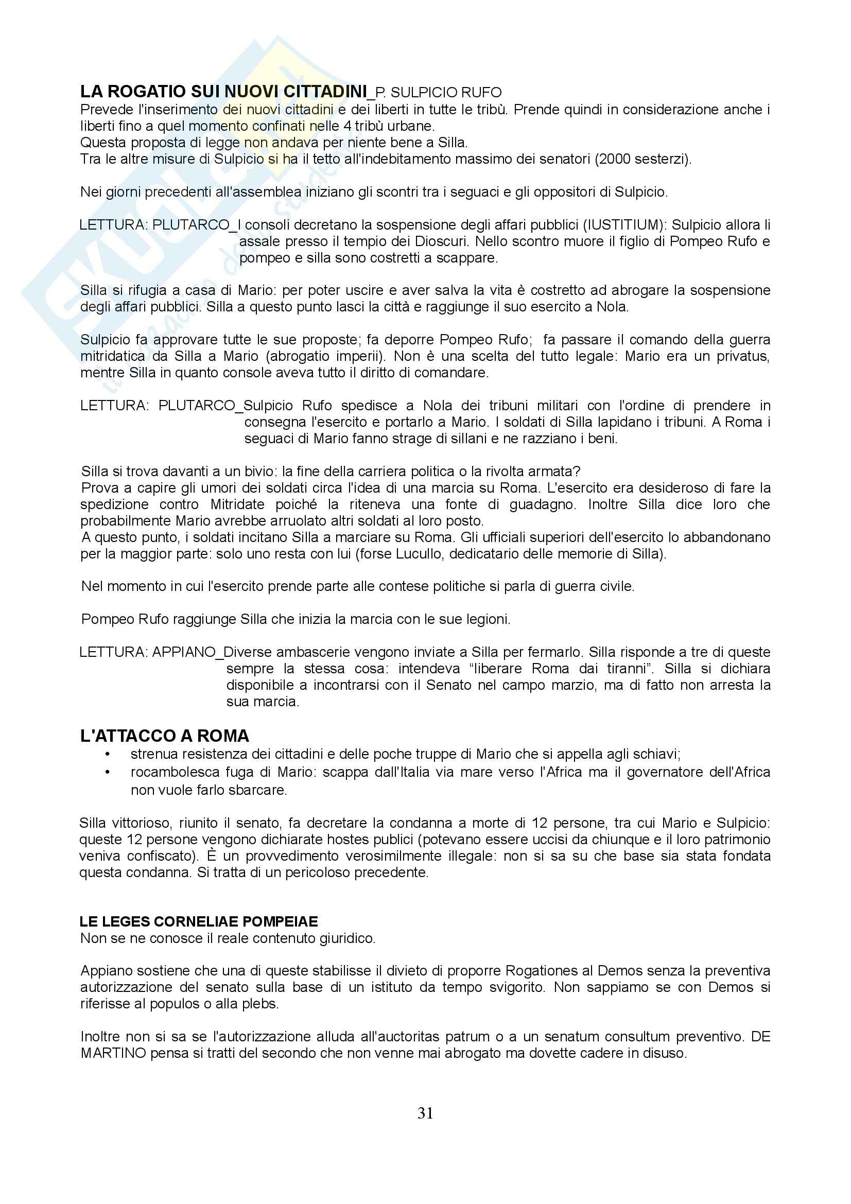 Storia romana 2 - Lucio Cornelio Silla Pag. 31