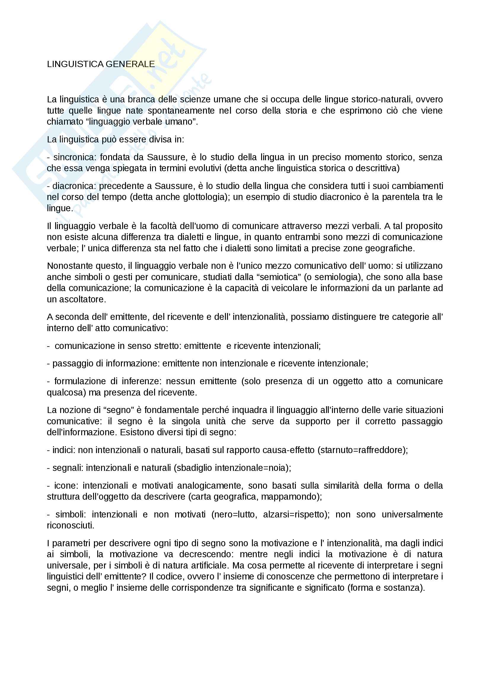 Linguistica generale: I modulo