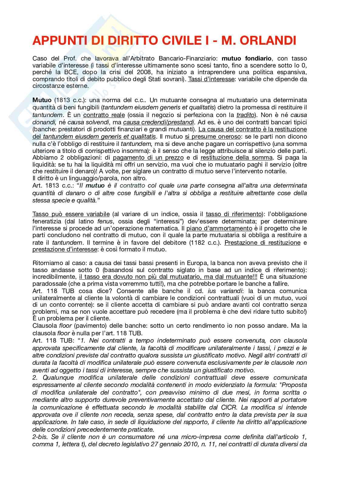 Appunti di Diritto Civile I (corso di Mauro Orlandi)
