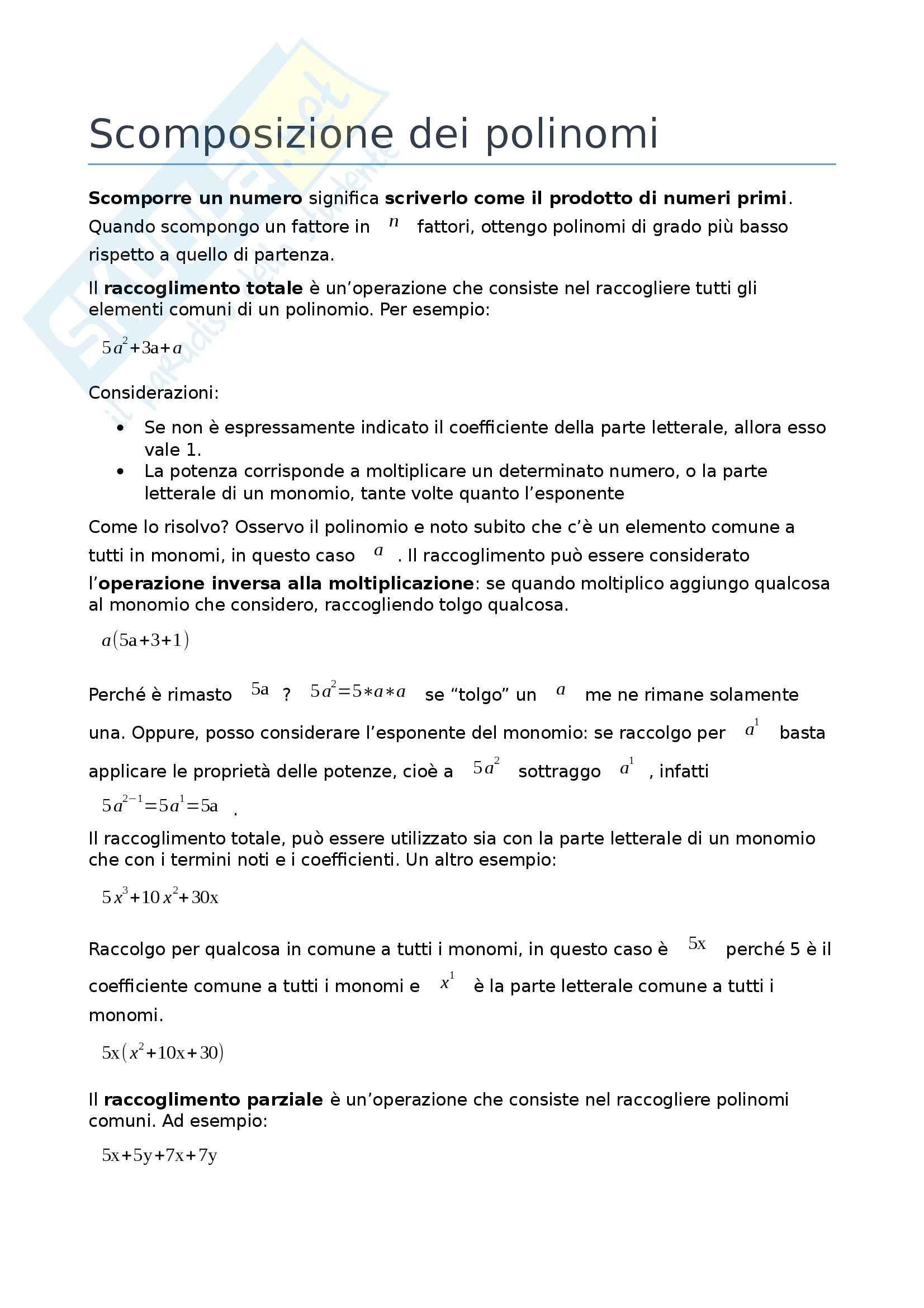 Matematica - Scomposizione dei polinomi e prodotti notevoli