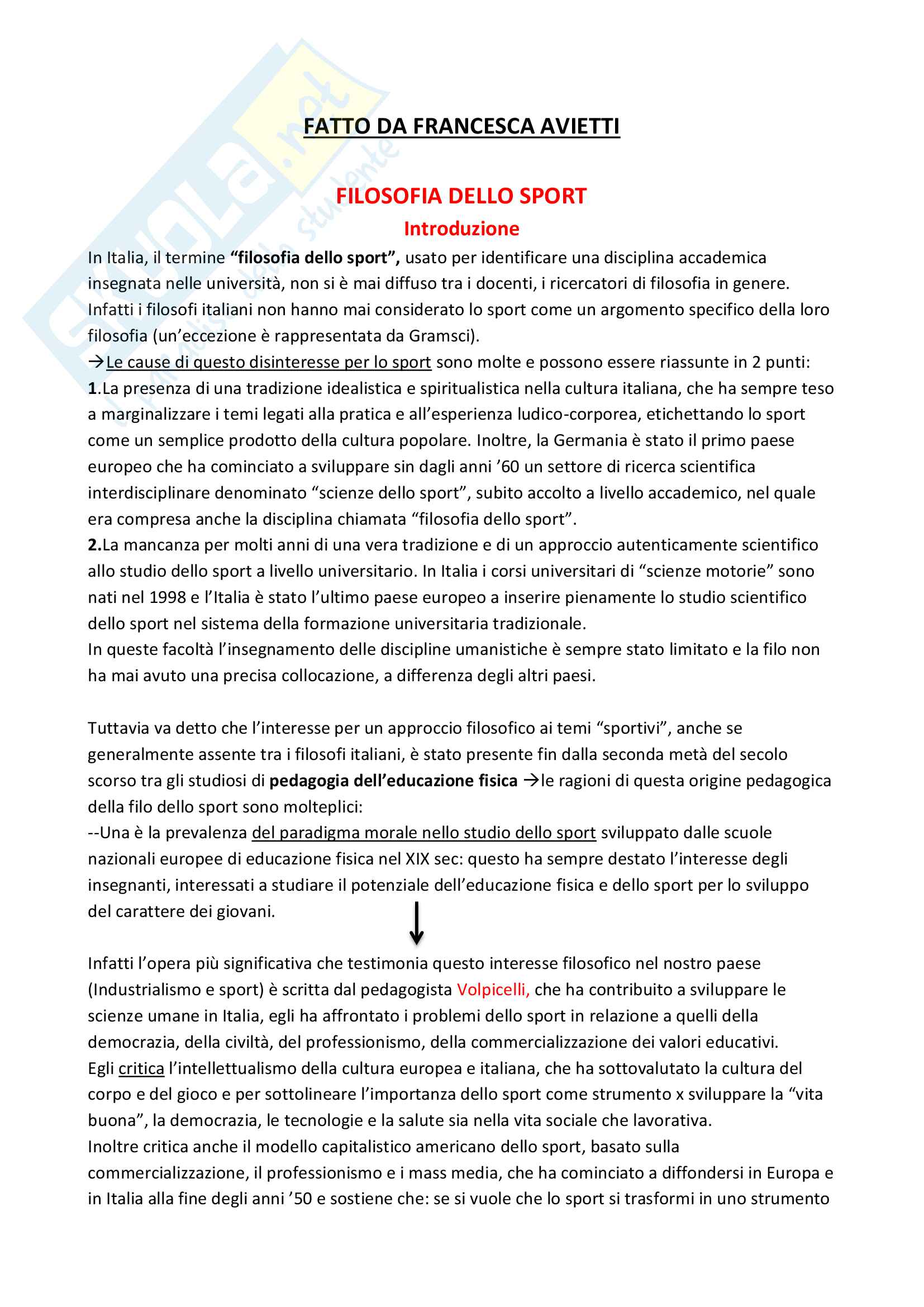 """Riassunto esame Filosofia dell'Educazione, docente Mariani, libro consigliato """"La filosofia dello sport"""", Fabrizio Ravaglioli"""
