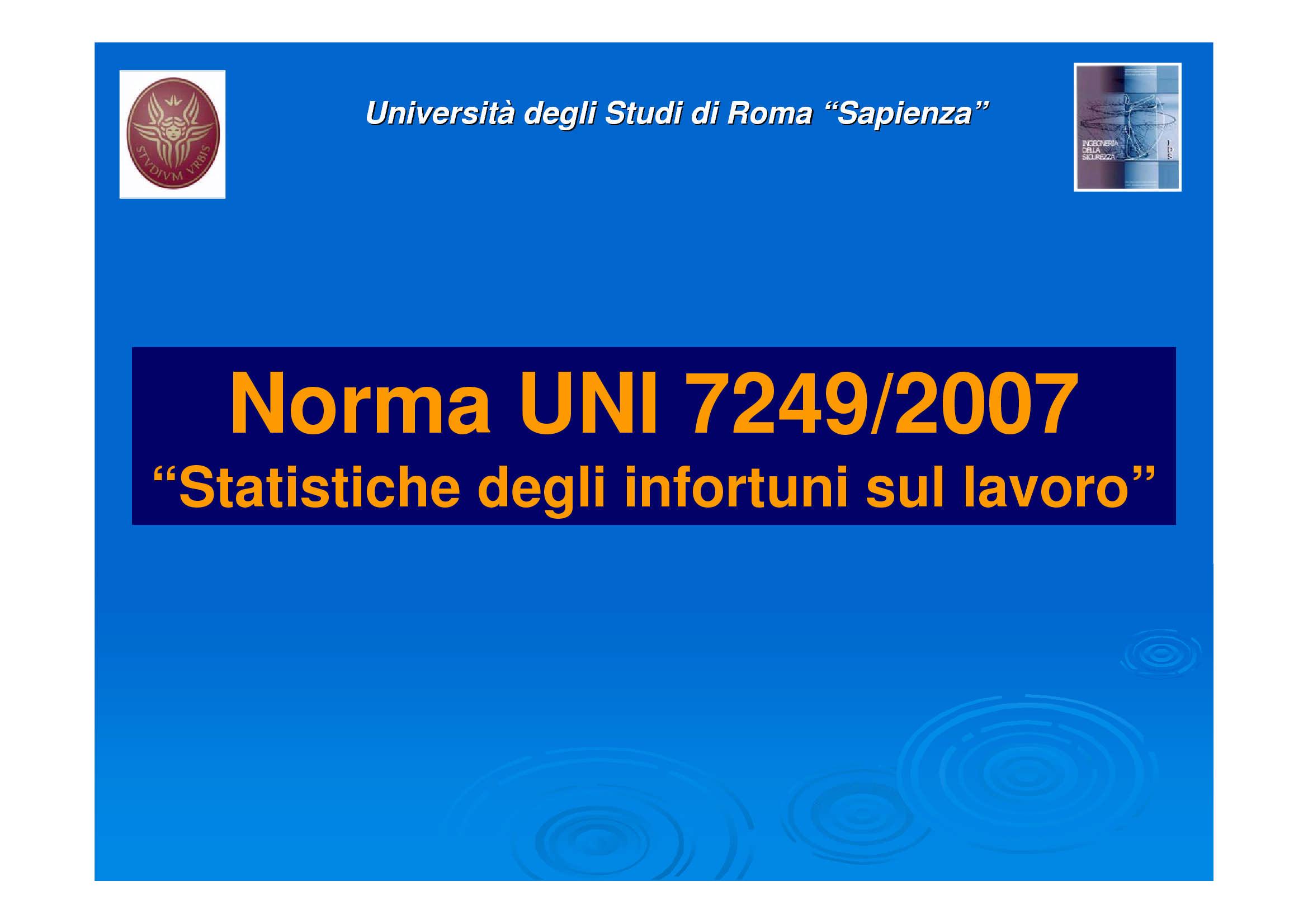 Statistiche degli infortuni sul lavoro - Uni 7249/2007