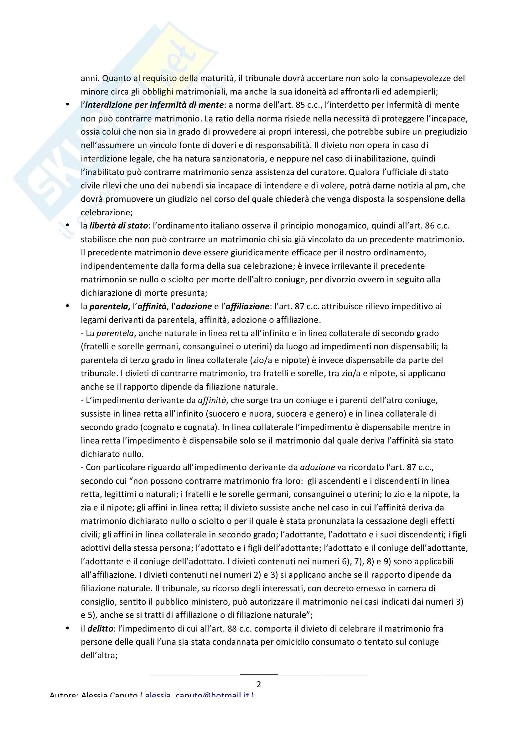 Riassunto esame Diritto di Famiglia, prof. Sesta, libro consigliato Manuale di Diritto di Famiglia Pag. 2